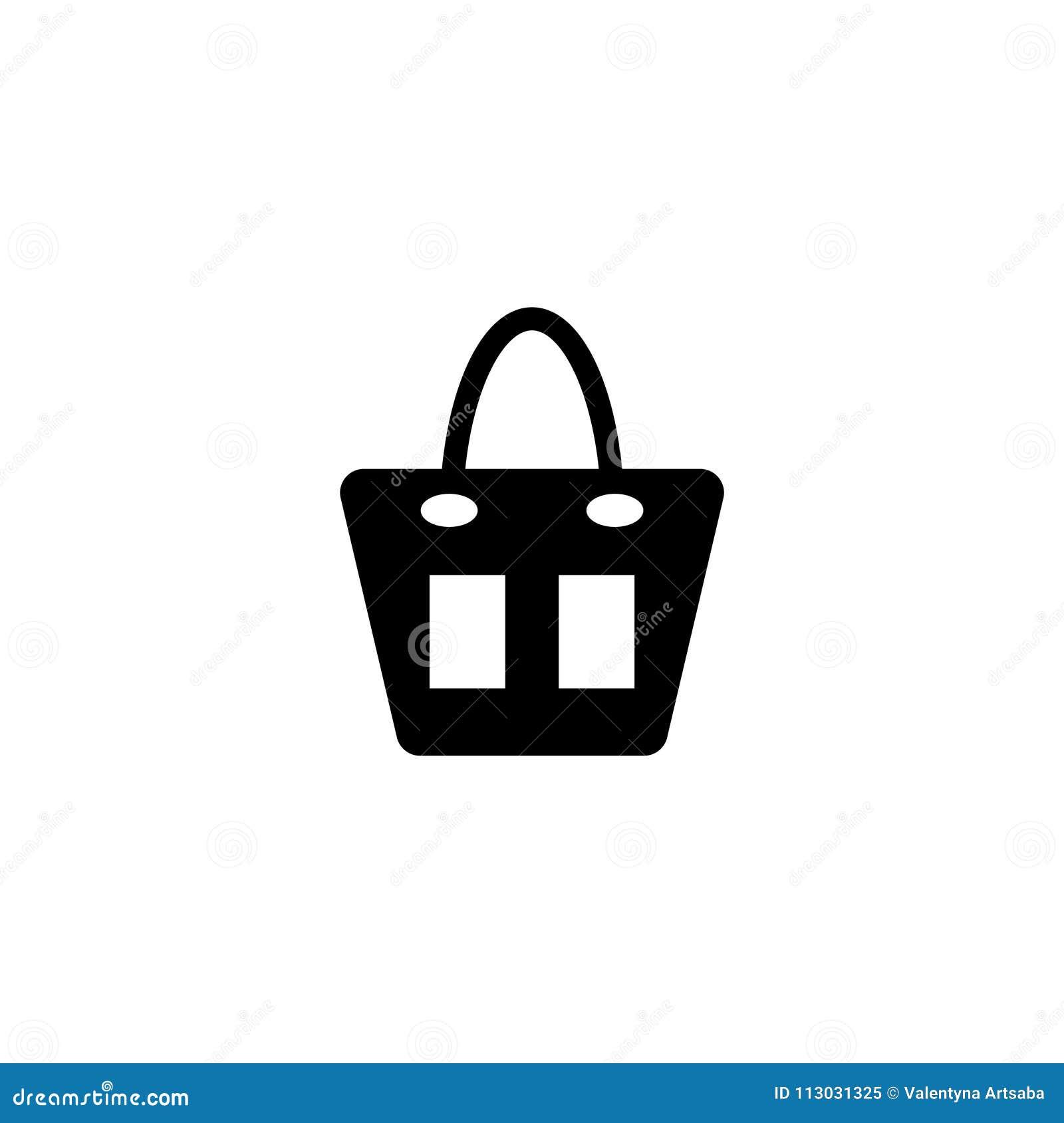 Icono plano del vector del bolso femenino