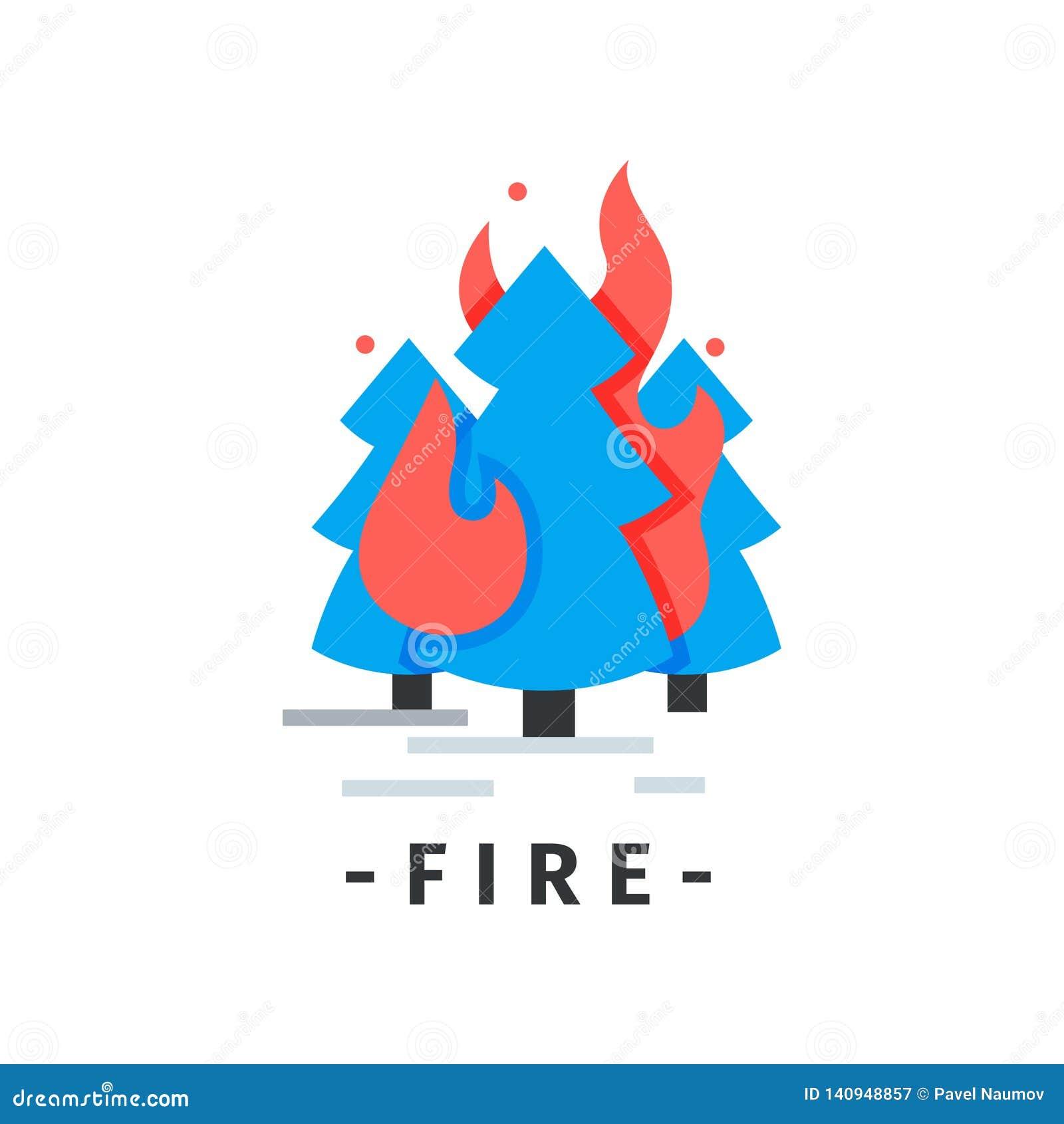 Icono plano del vector con los abetos ardientes Bosque en fuego Situación de emergencia Desastre natural Elemento para infographi