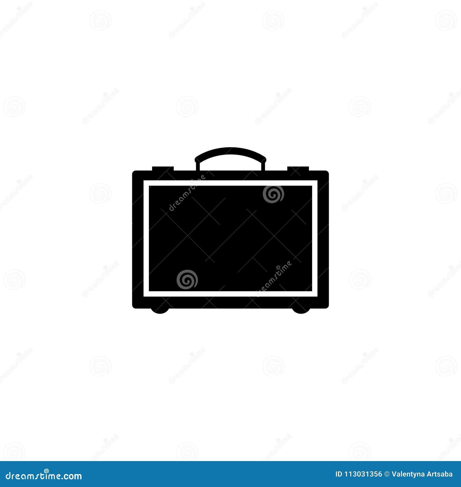 Icono plano del vector de la maleta