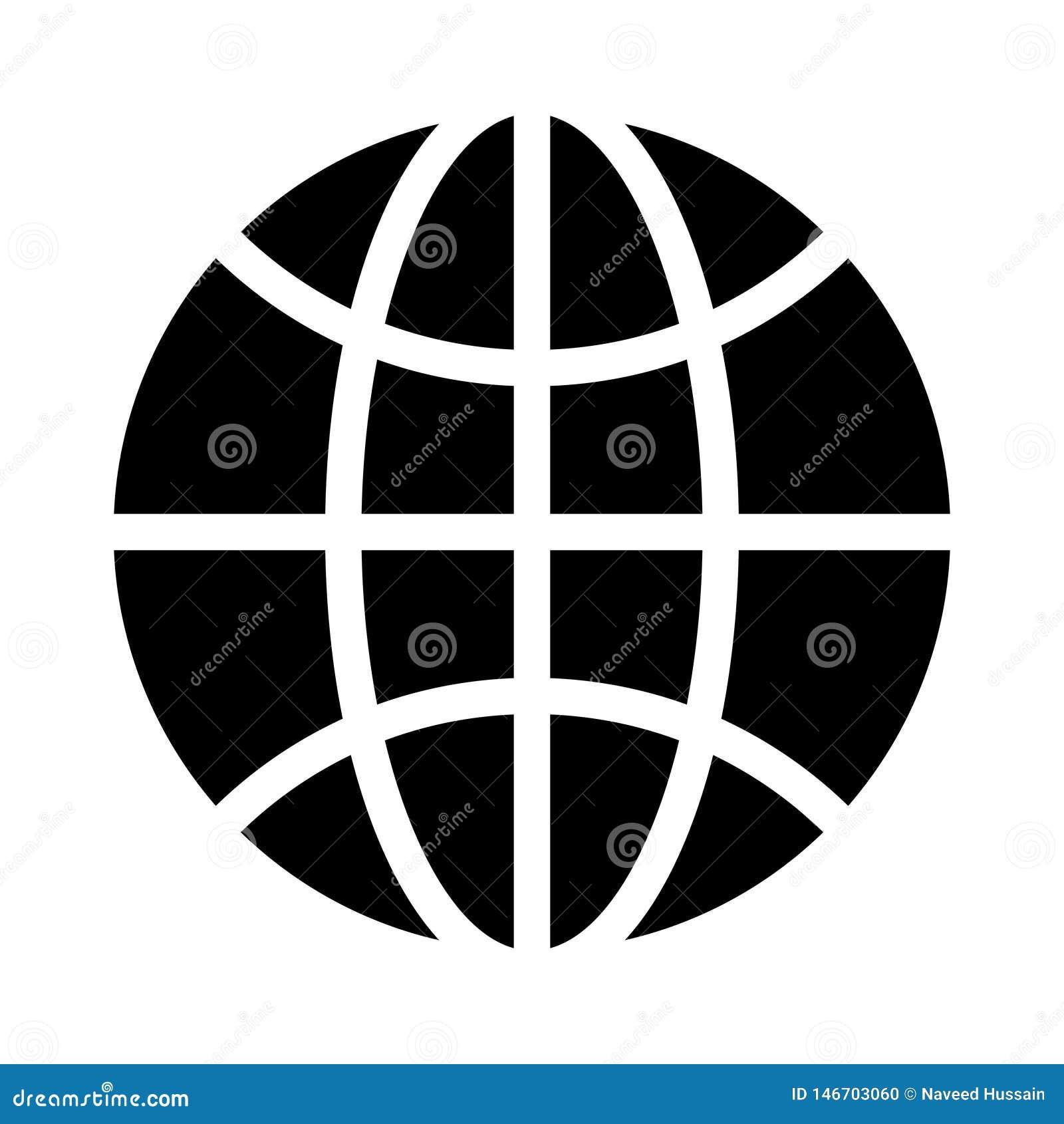 Icono plano del vector del glyph global