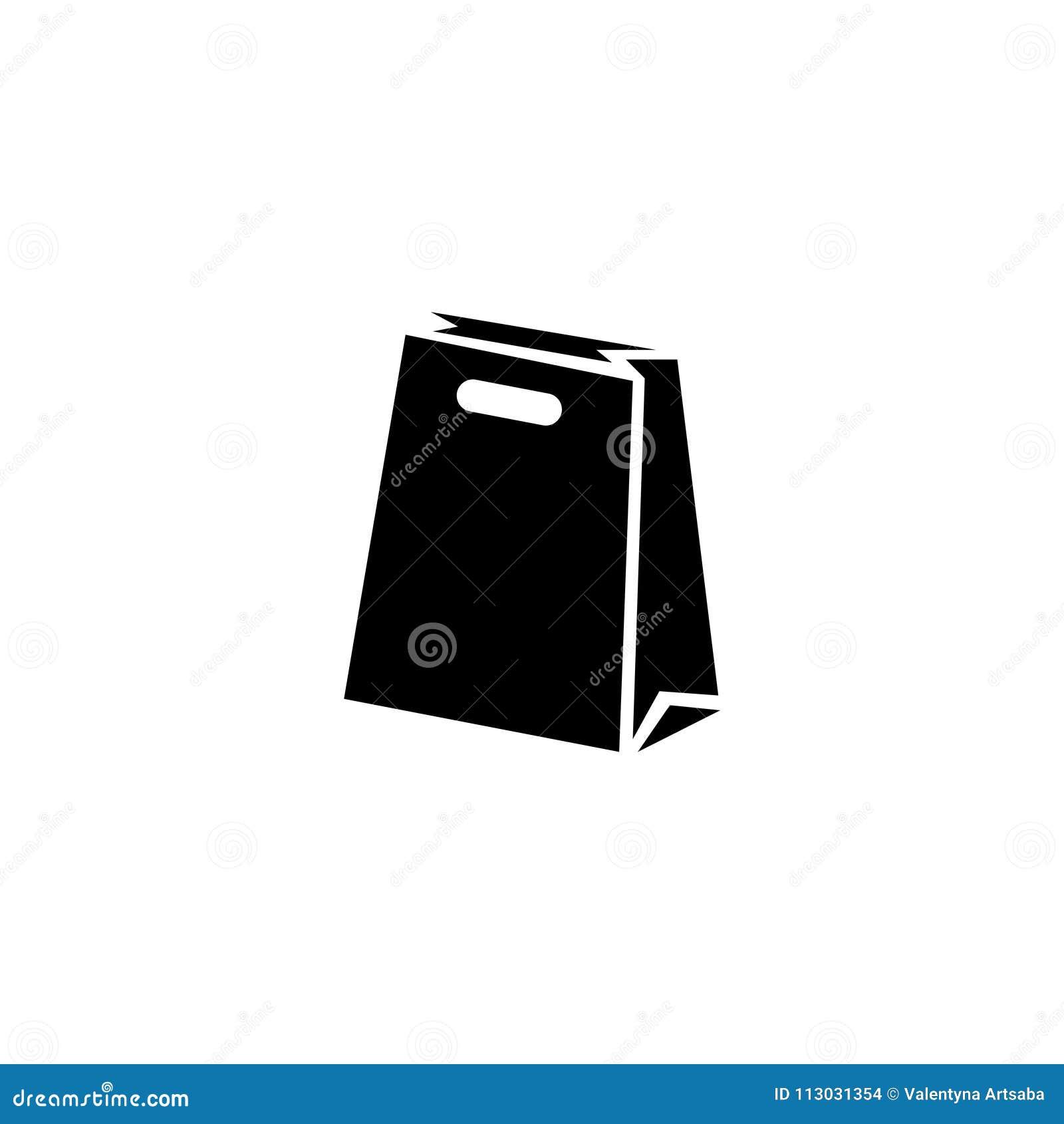 Icono plano del vector del paquete de la bolsa de papel