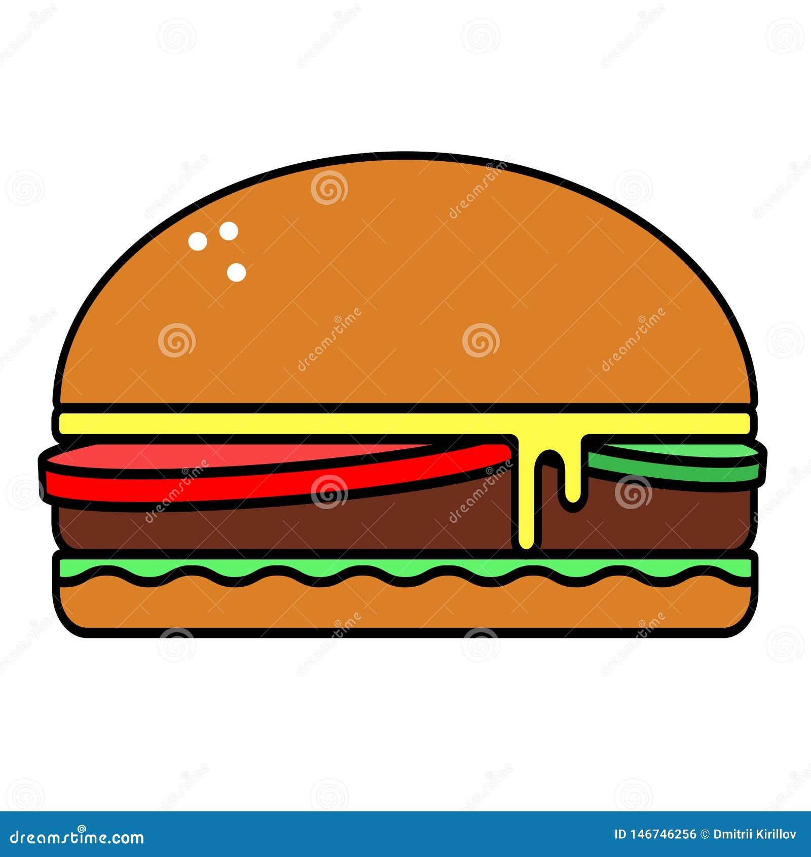 Icono plano del vector sabroso dañino de la hamburguesa aislado en el fondo blanco