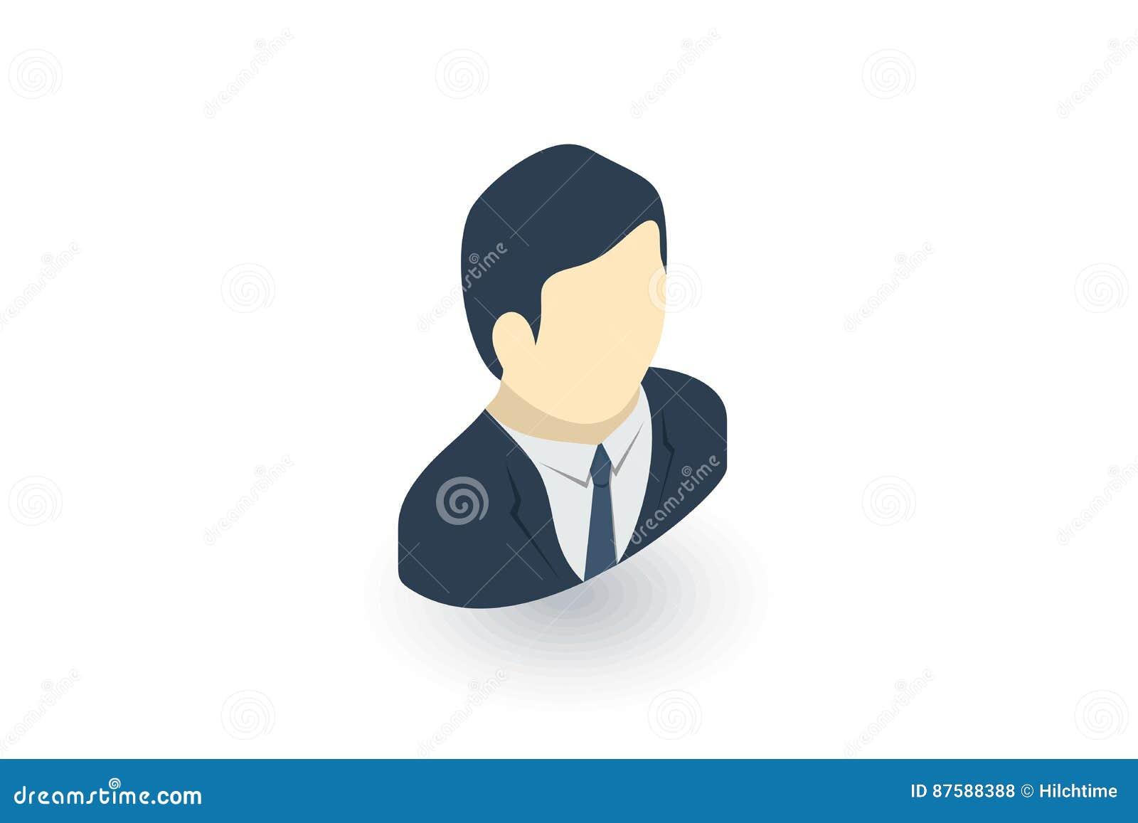 Icono Plano Isométrico Del Avatar Del Hombre De Negocios Vector 3d ...