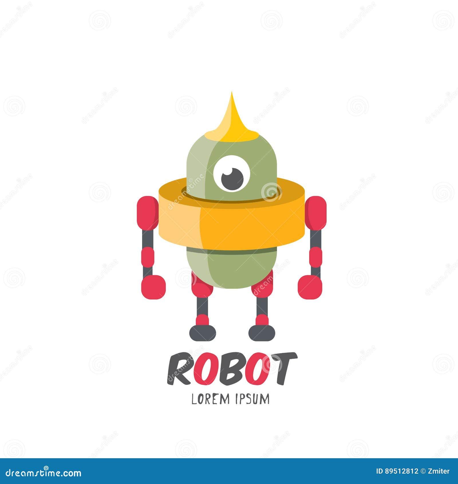 Icono plano lindo del robot de la historieta del vector