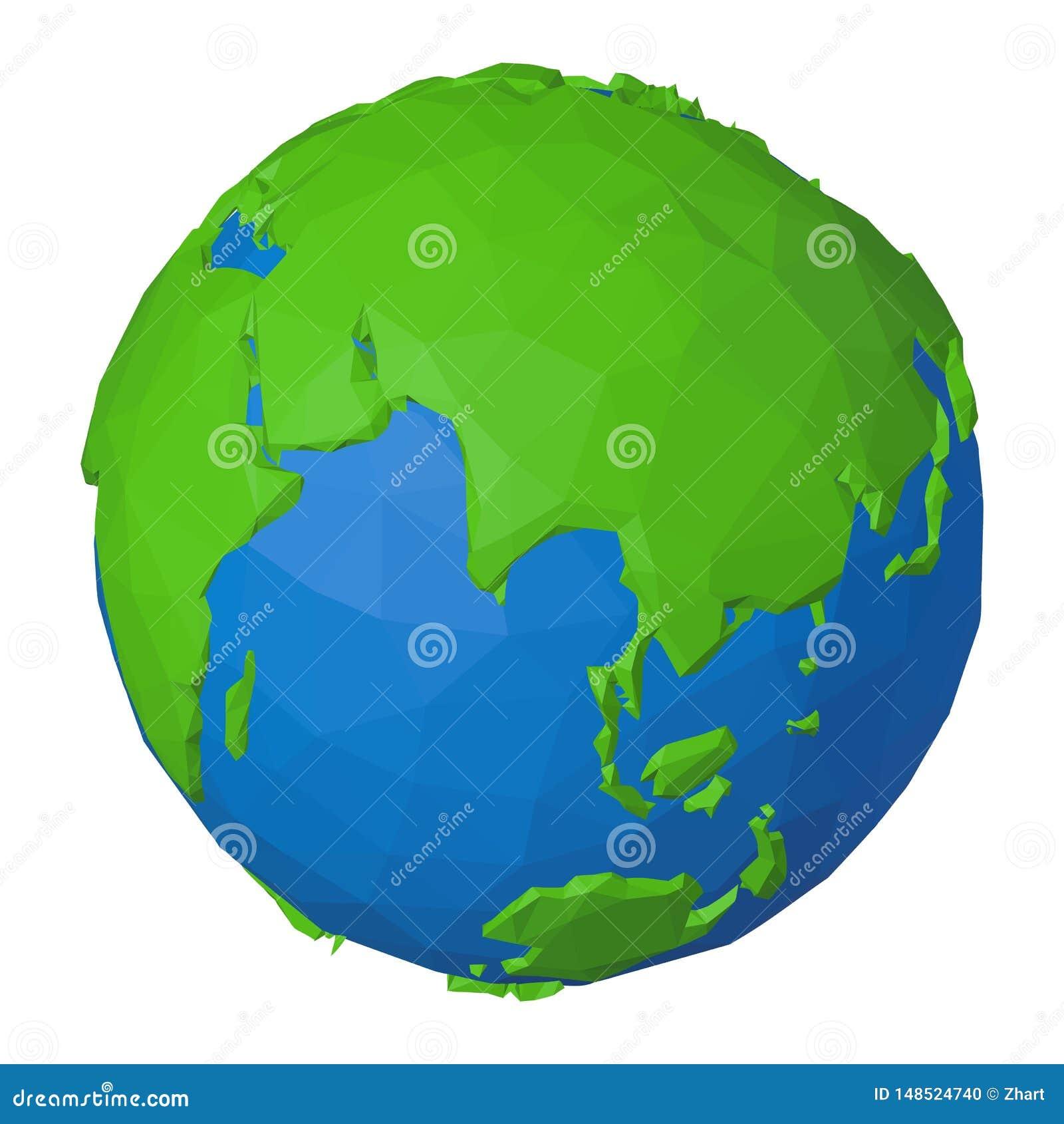 Icono poligonal 3D de Eurasia y del Océano Índico en la tierra del planeta