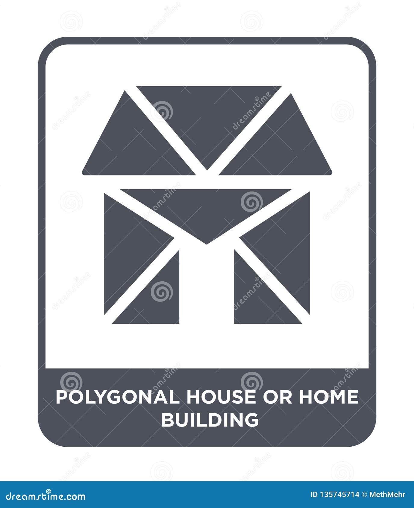 Icono poligonal de la casa o de la construcción en estilo de moda del diseño icono poligonal de la casa o de la construcción aisl