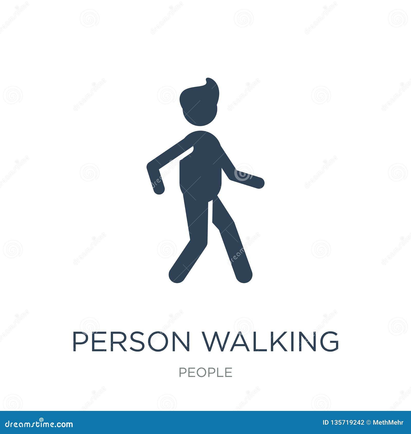 Icono que camina de la persona en estilo de moda del diseño icono que camina de la persona aislado en el fondo blanco icono del v