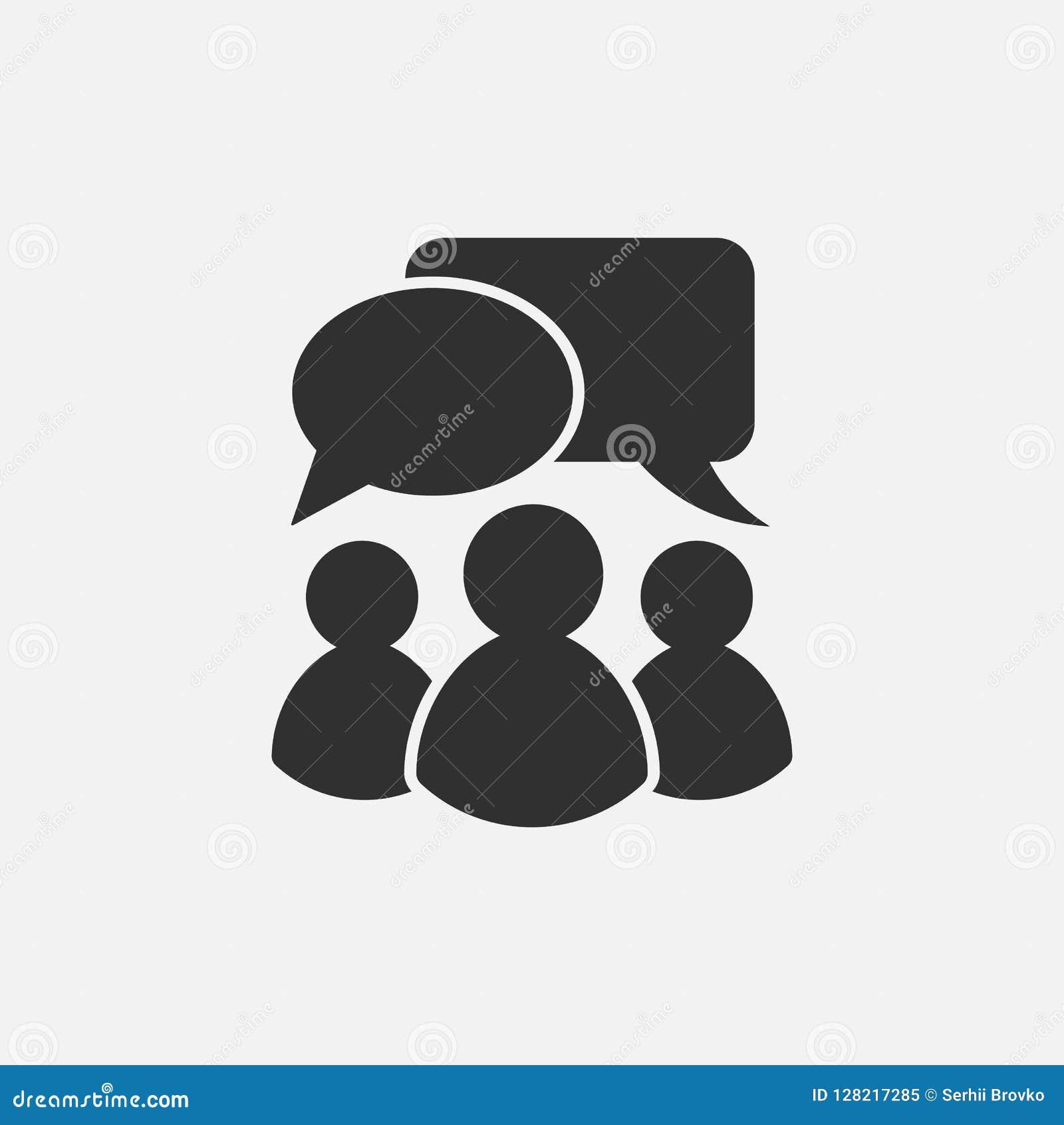 Icono que habla de la gente Aislado en el fondo blanco Ilustración del vector