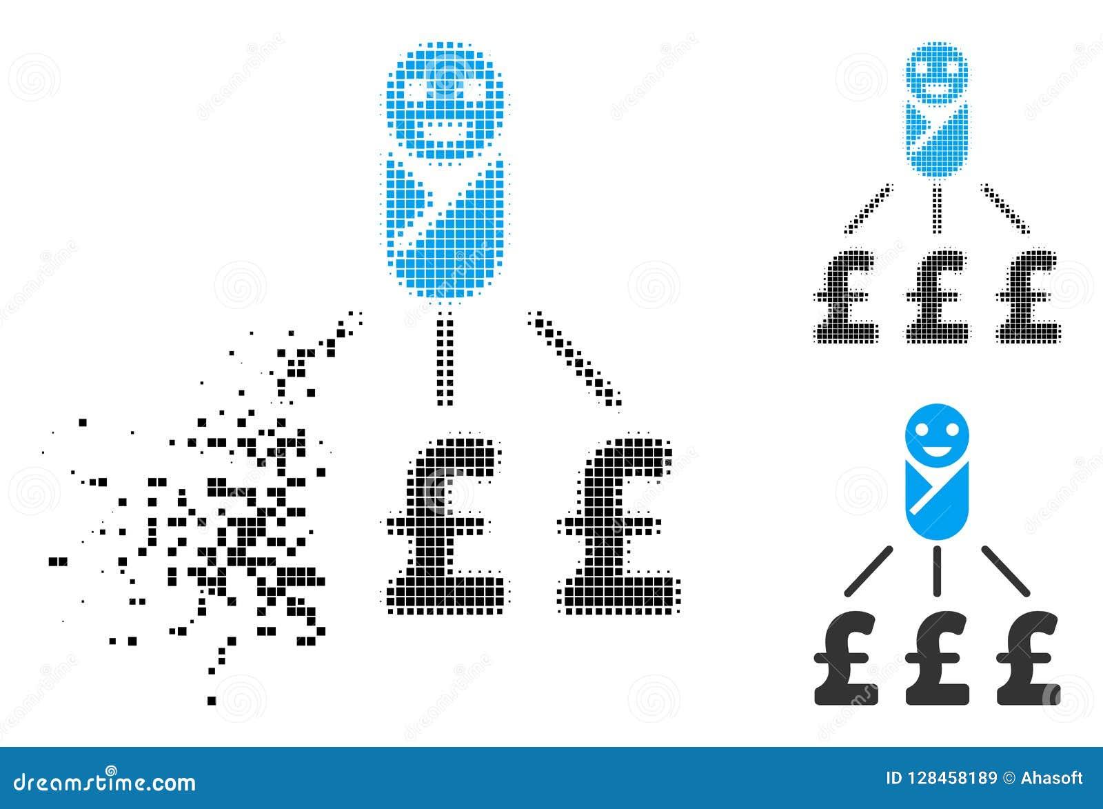 Icono recién nacido de semitono punteado destrozado de los costos de la libra
