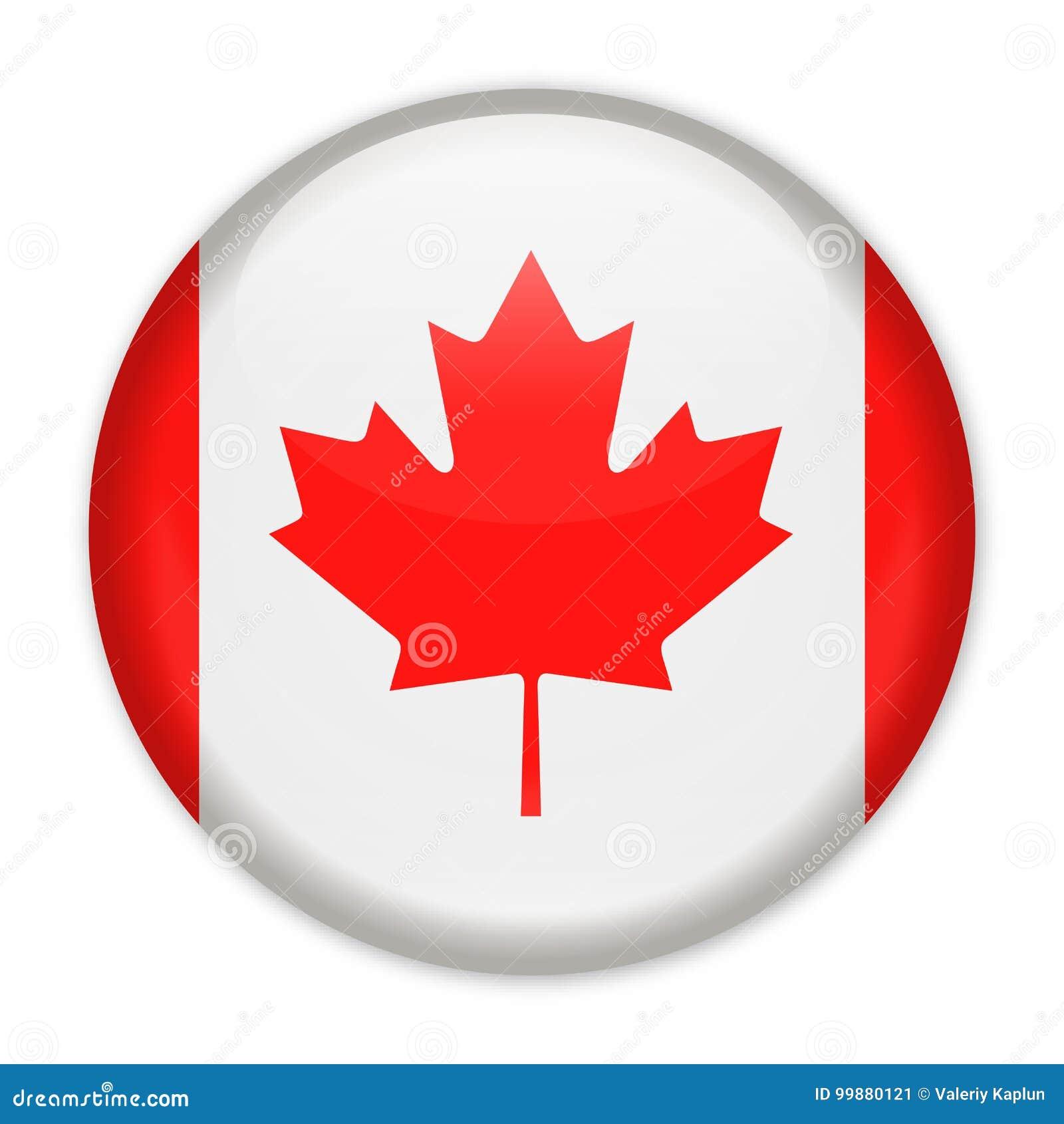 Icono Redondo Del Vector De La Bandera De Canadá Stock de ...