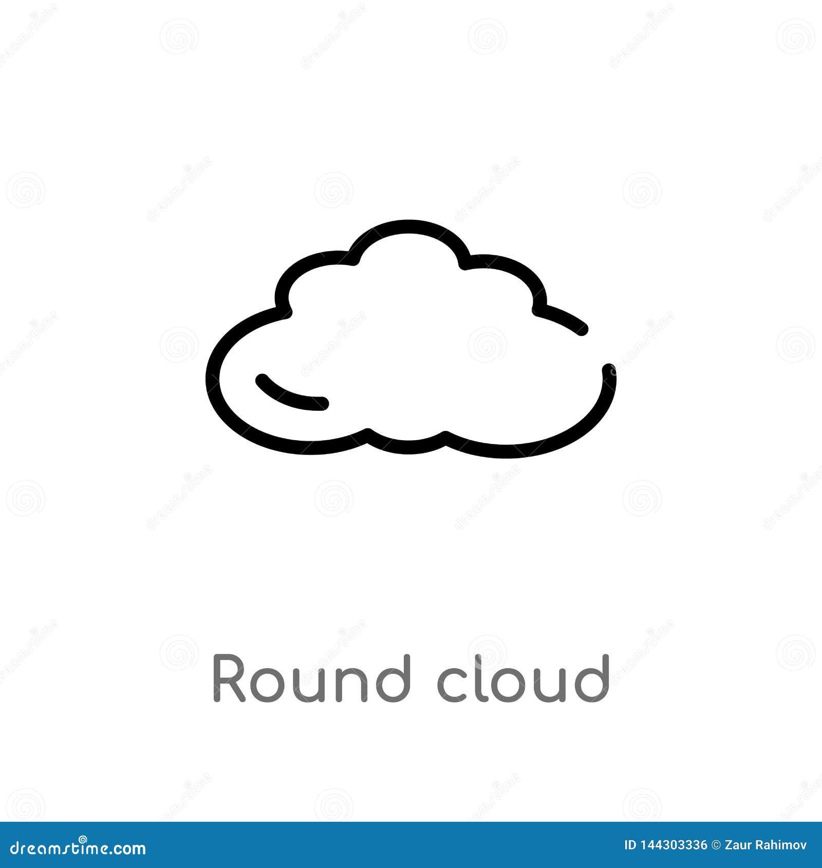Icono redondo del vector de la nube del esquema l?nea simple negra aislada ejemplo del elemento del concepto del tiempo Movimient