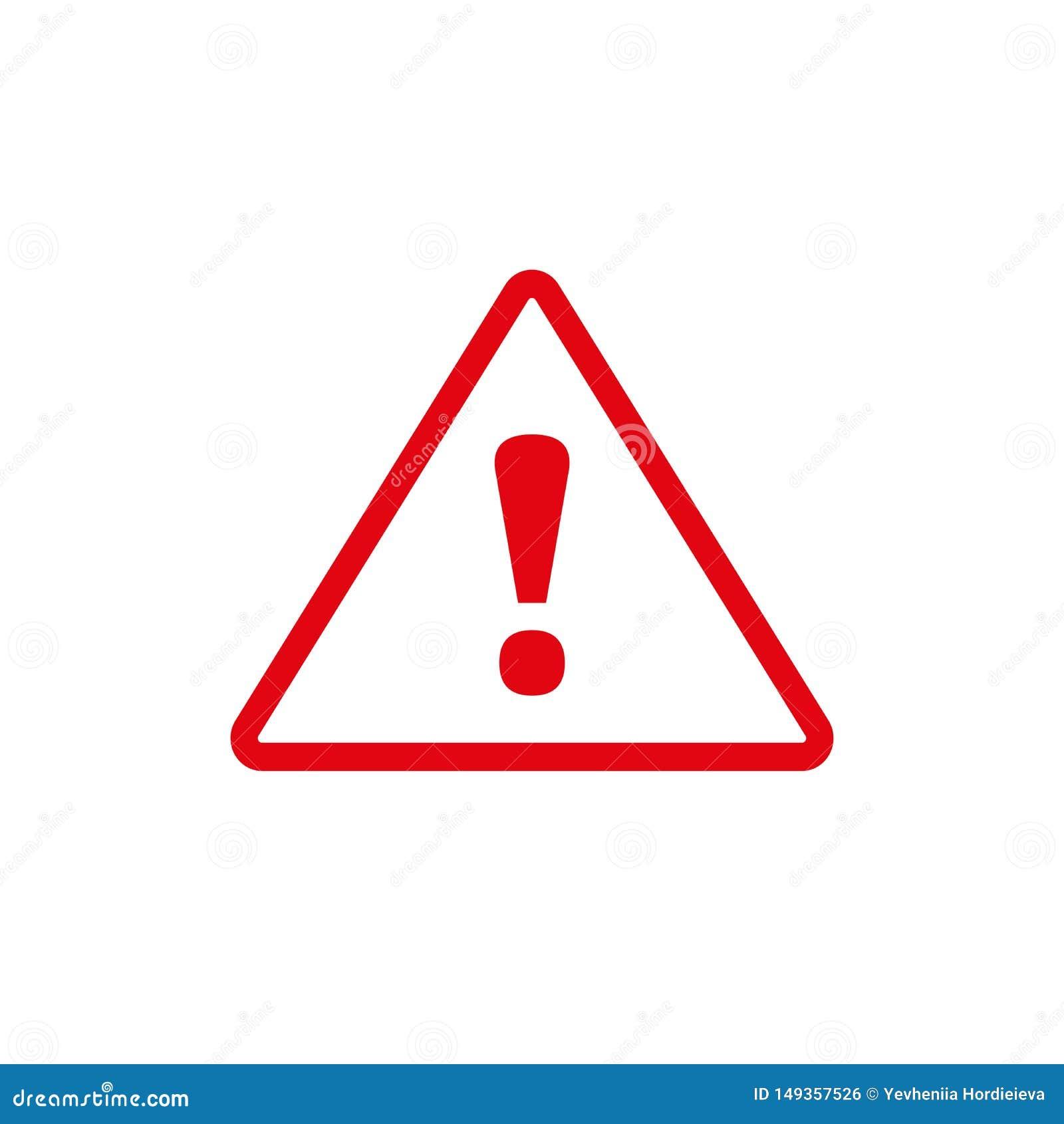 Icono rojo de la marca de exclamación en estilo plano Concepto del negocio del riesgo de la precauci?n Ejemplo del vector de la a
