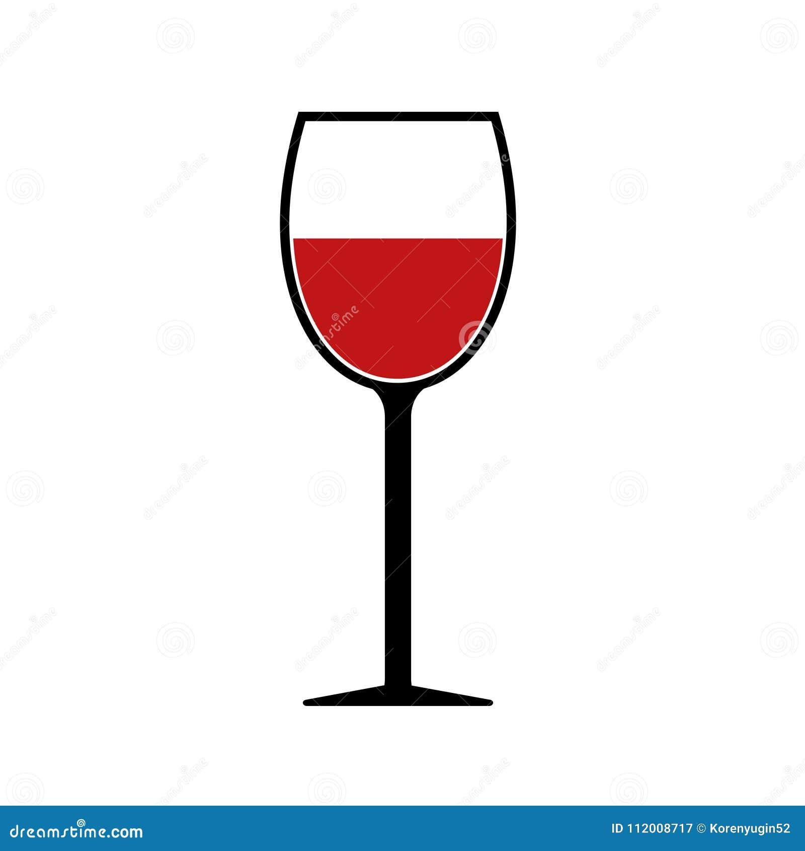 Icono rojo de la silueta de la copa de vino aislado