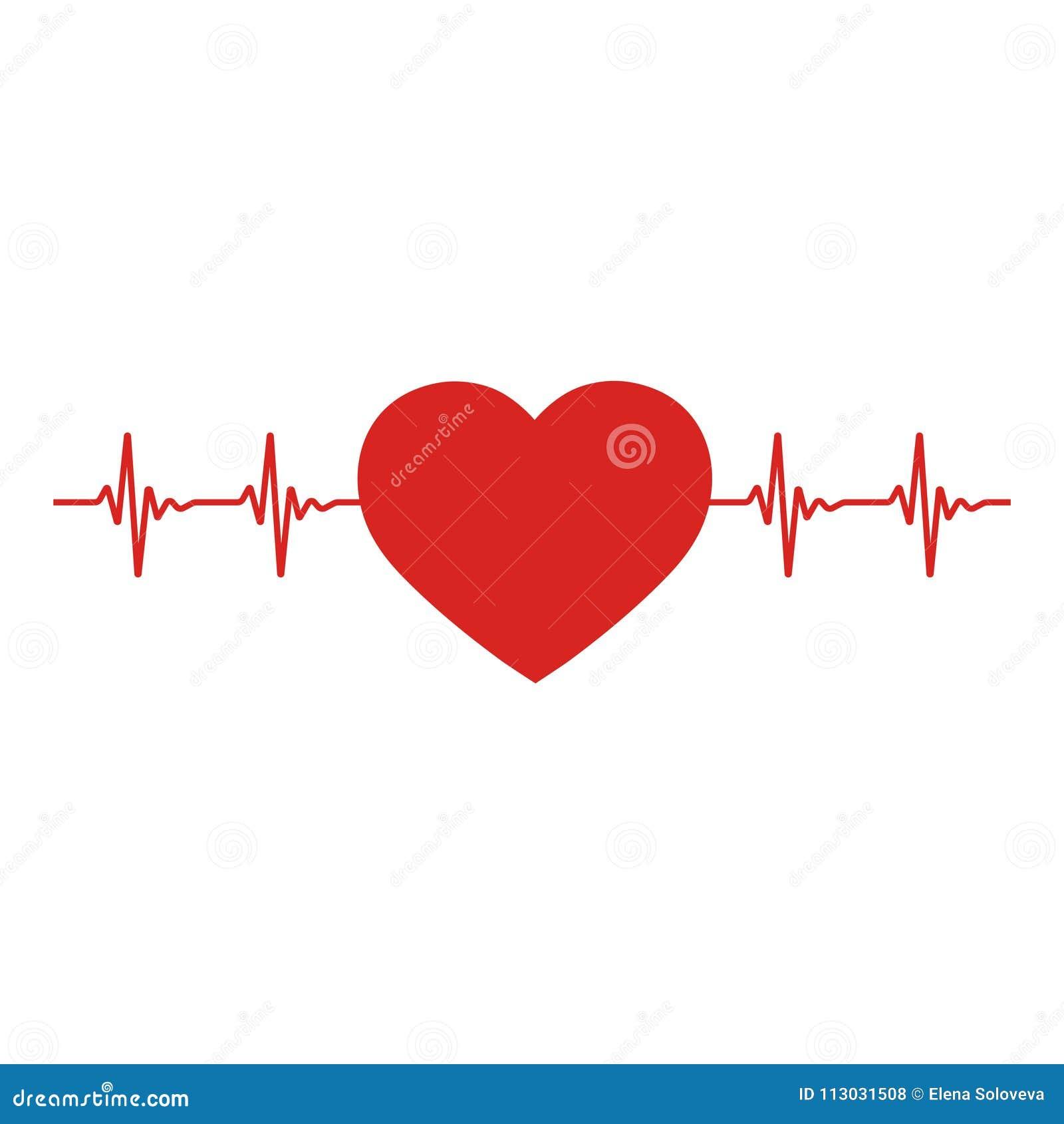 Icono rojo del corazón con latido del corazón de la muestra El corazón firma adentro diseño plano