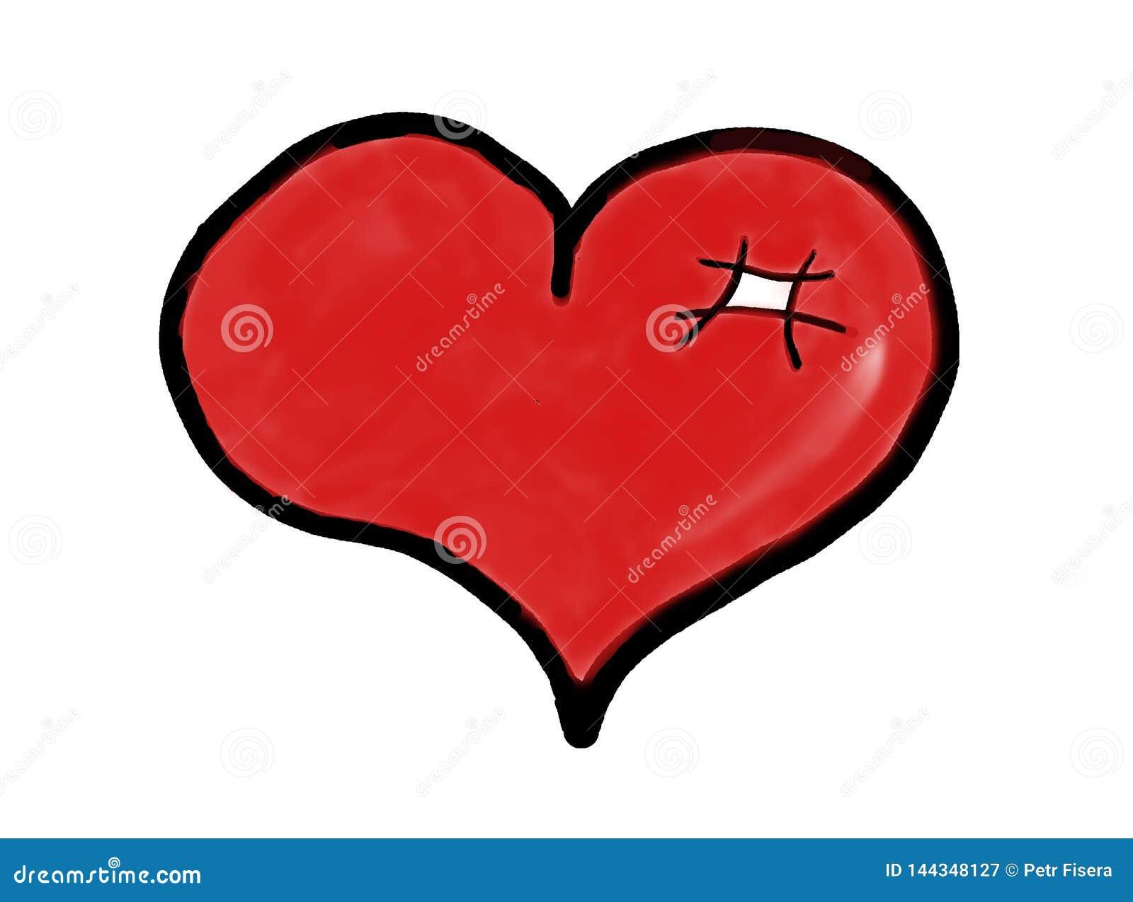Icono rojo exhausto del corazón - amor