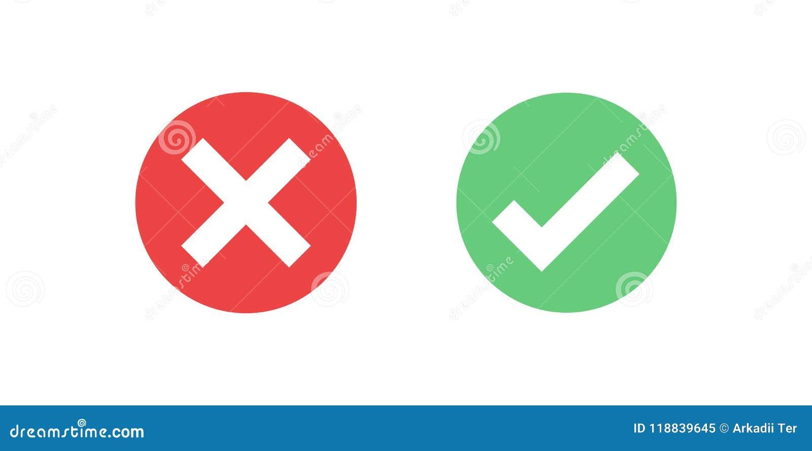 Icono rojo y verde de la marca de verificación del icono del círculo aislado en fondo transparente Apruebe y cancele el símbolo p