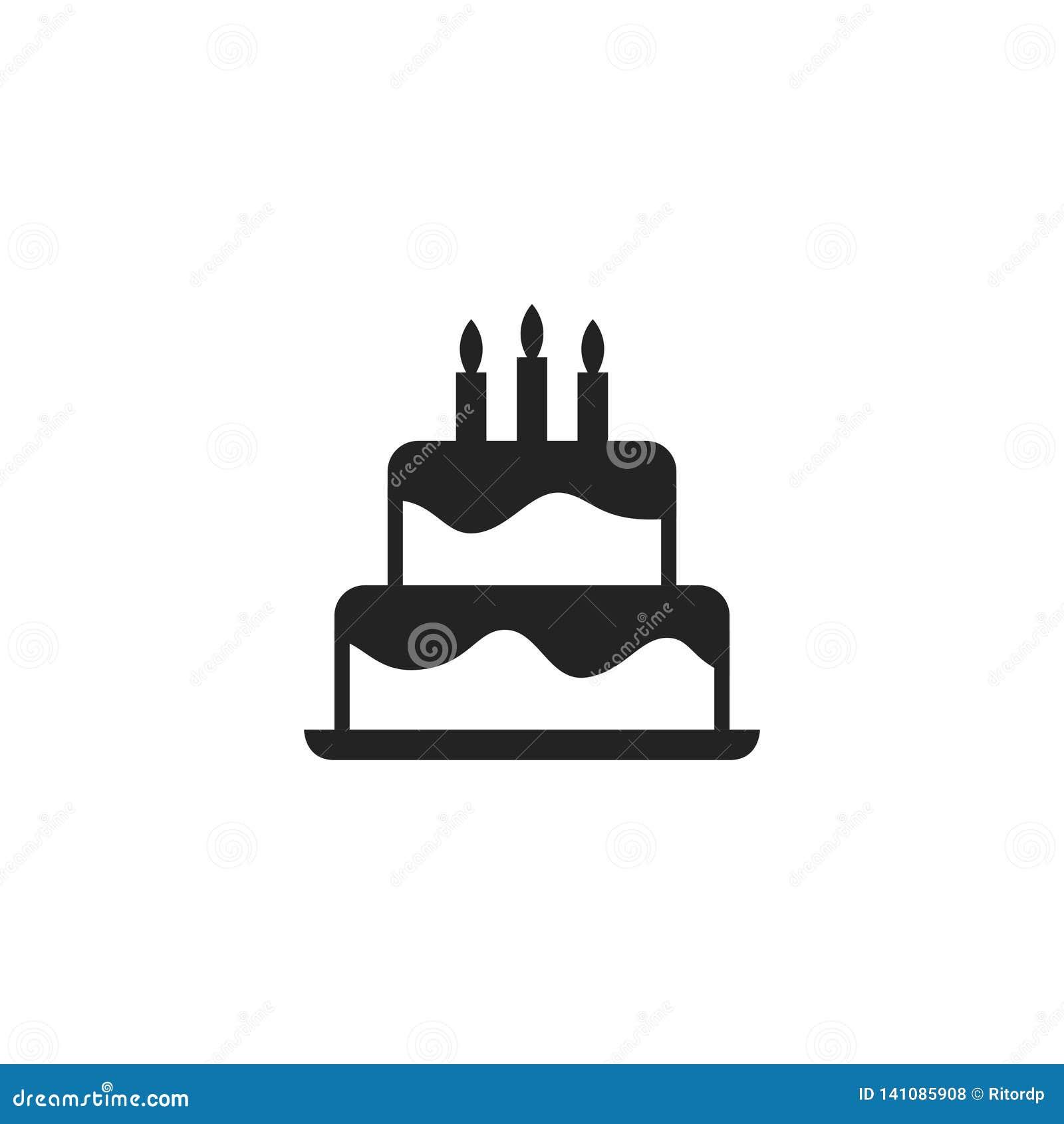 Icono, símbolo o logotipo del vector del Glyph de la torta de cumpleaños