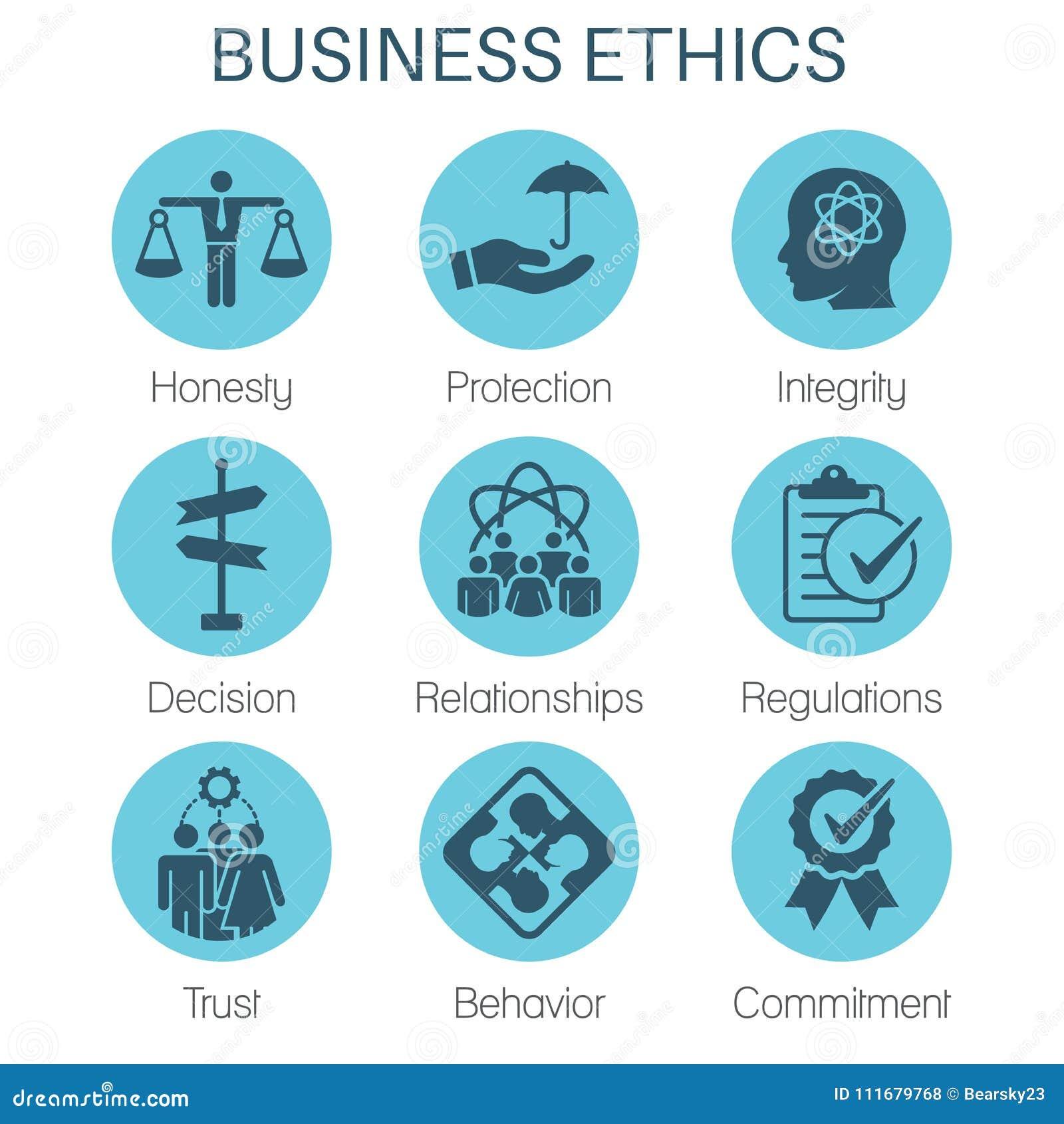 Icono sólido de la ética empresarial fijado con la honradez, integridad, Commitme