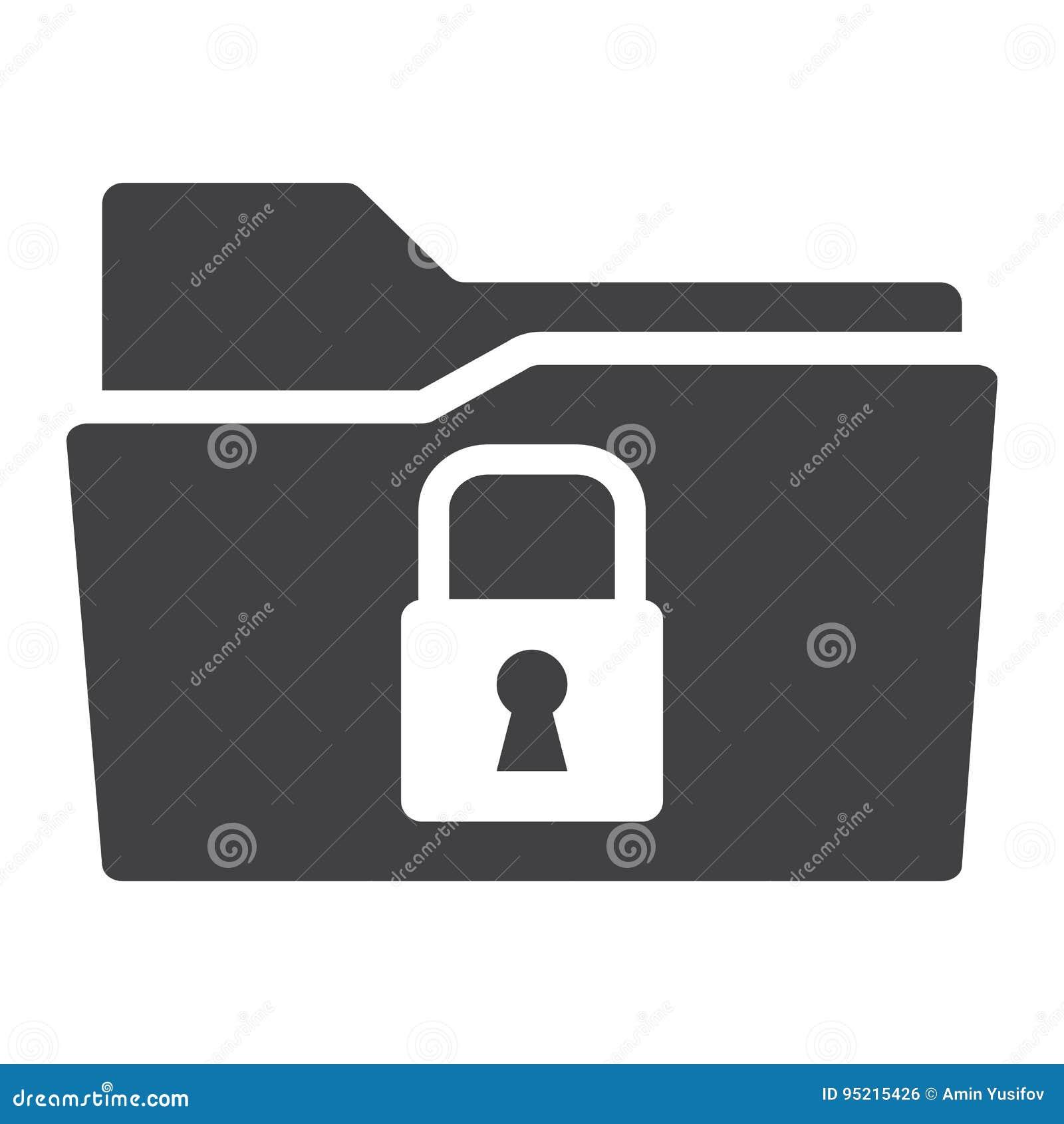 Icono sólido de la carpeta segura de los datos, candado de la seguridad