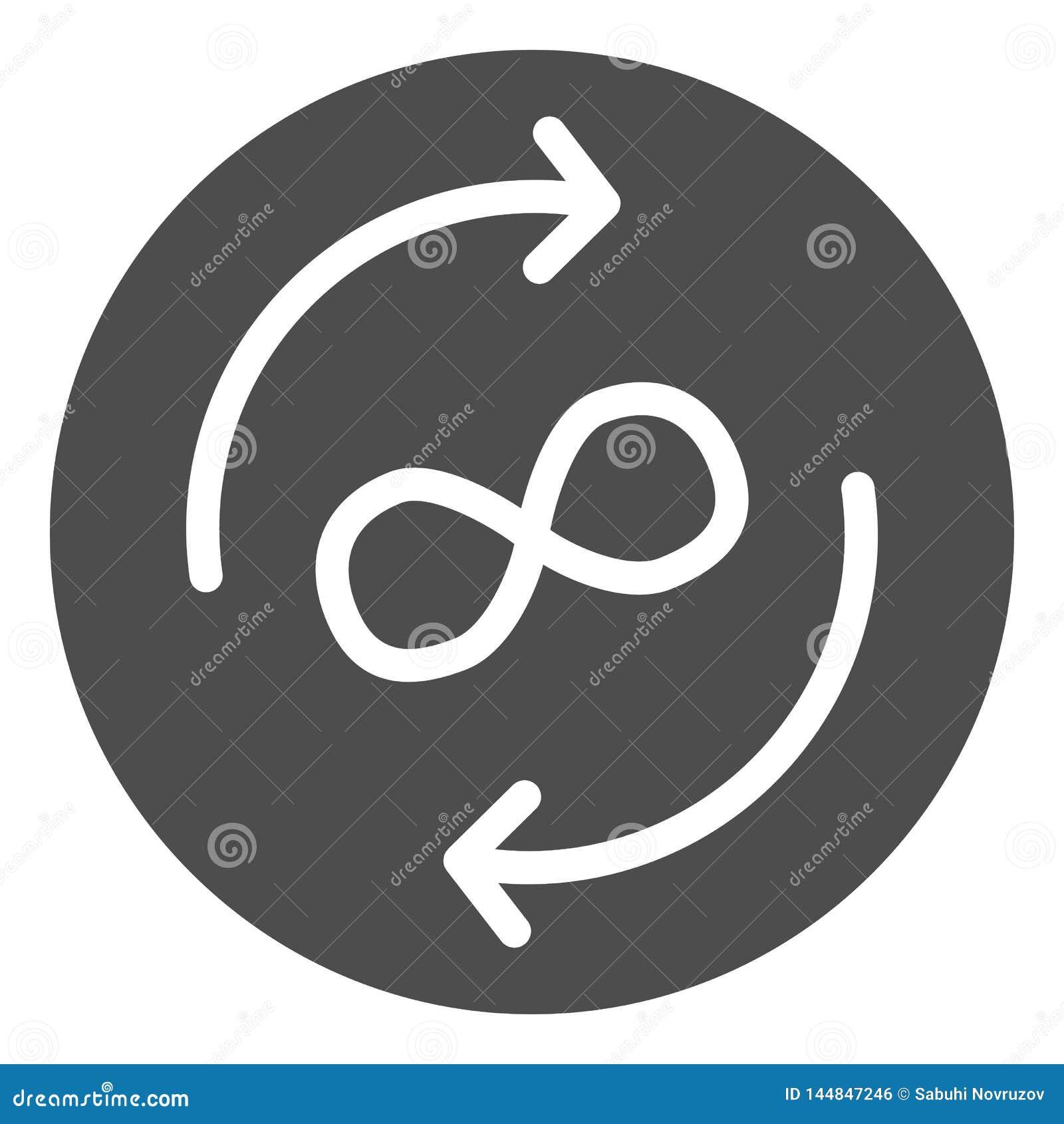 Icono sólido del intercambio del infinito Flechas y ejemplo del vector del símbolo del infinito aislado en blanco Glyph de las