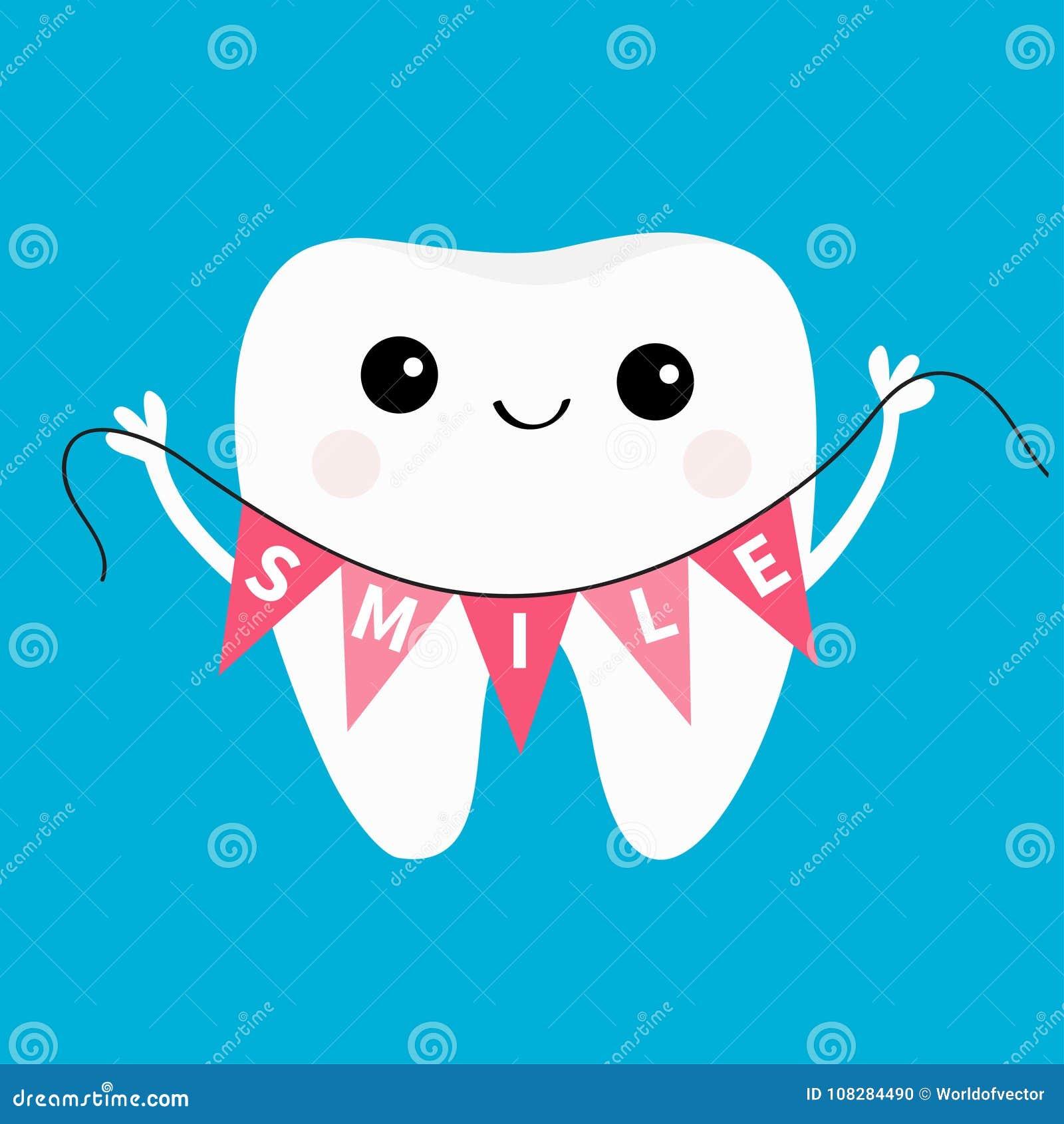 Icono sano del diente que celebra sonrisa de la bandera del empavesado Higiene dental oral Cuidado de los dientes de los niños Pe