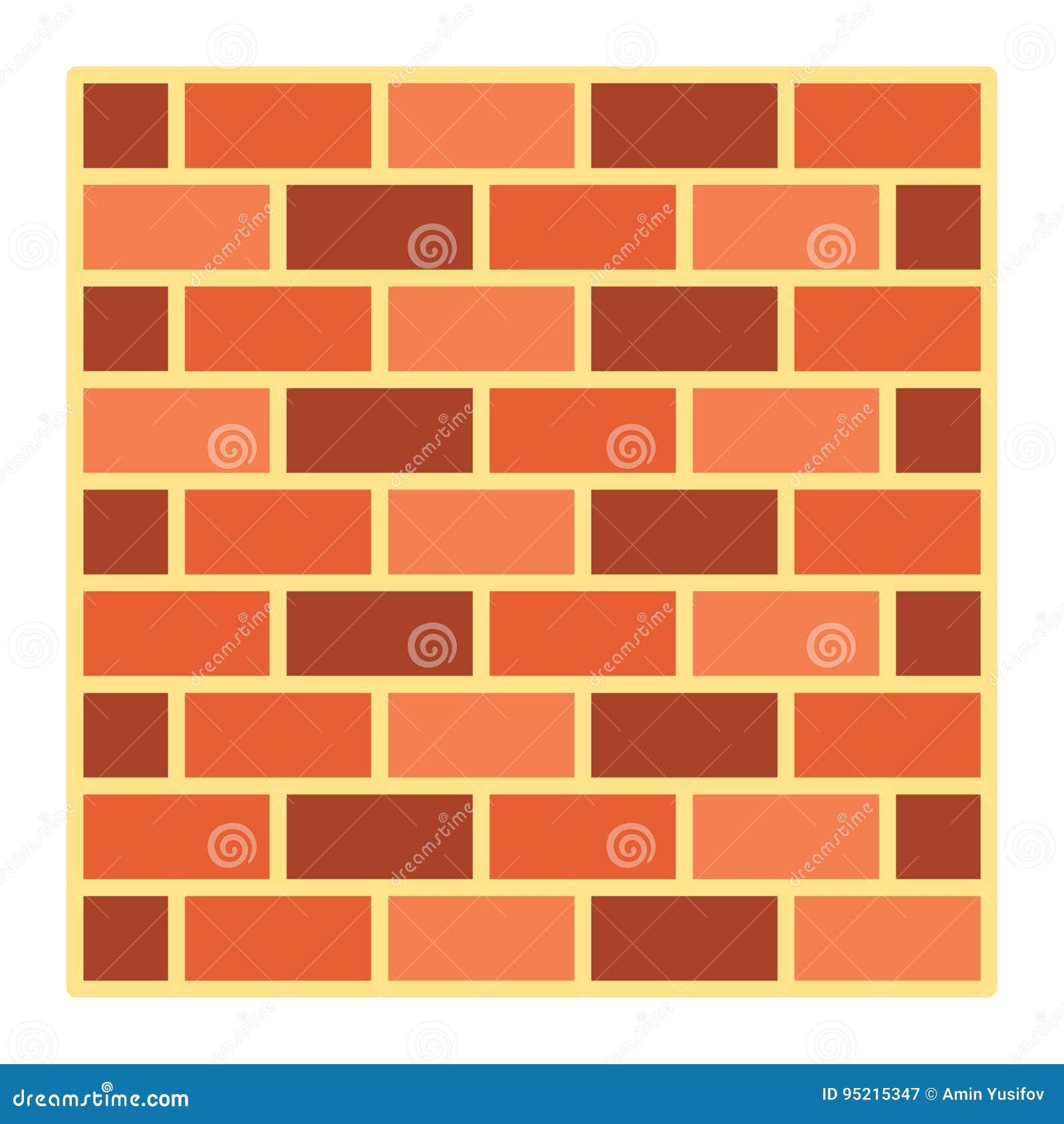 Icono, seguridad y estructura planos de la pared de ladrillo