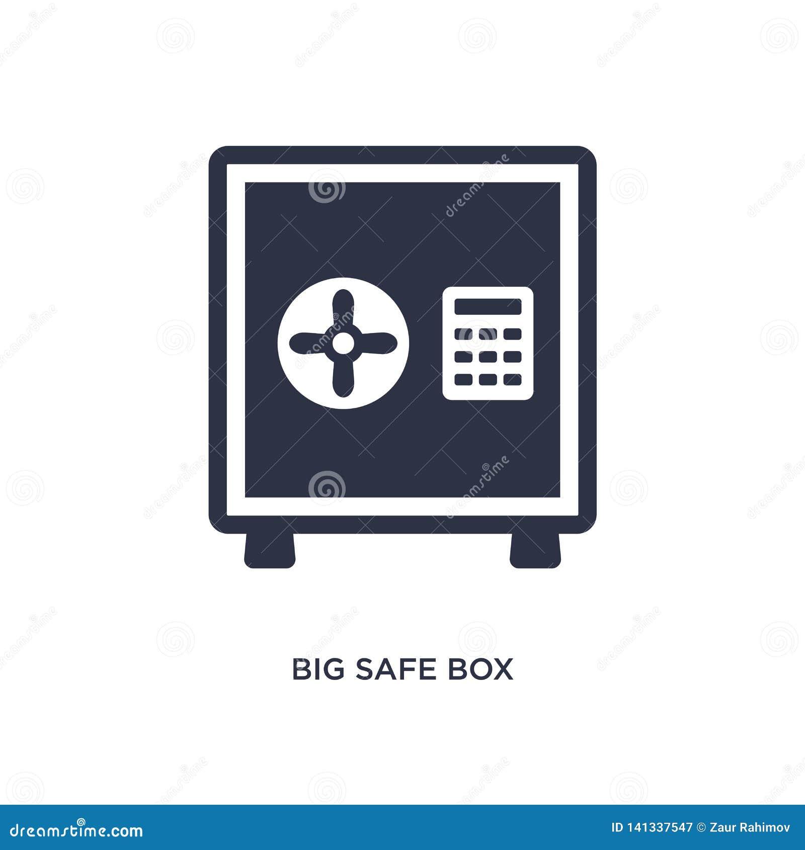 Icono seguro grande de la caja en el fondo blanco Ejemplo simple del elemento del concepto del terminal de aeropuerto