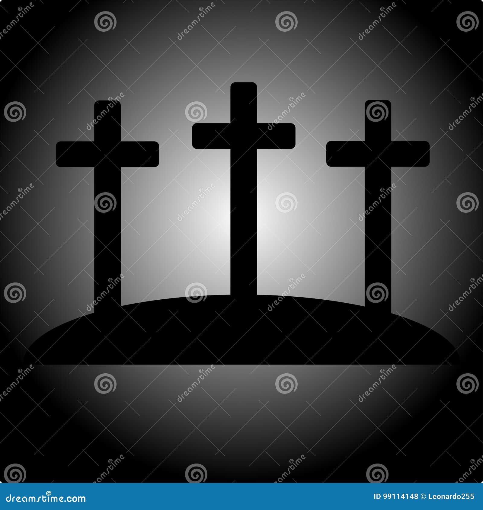 Icono simple del calvary con tres cruces