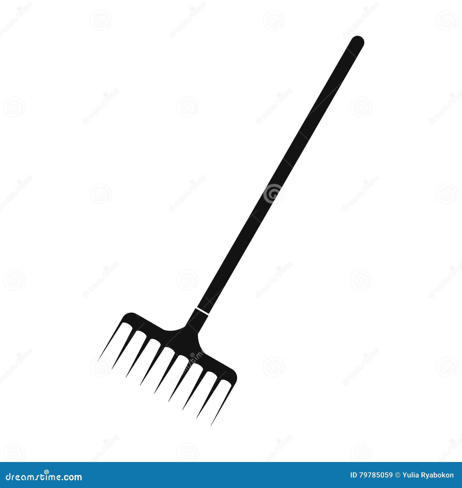 Icono simple del negro del rastrillo de jardín
