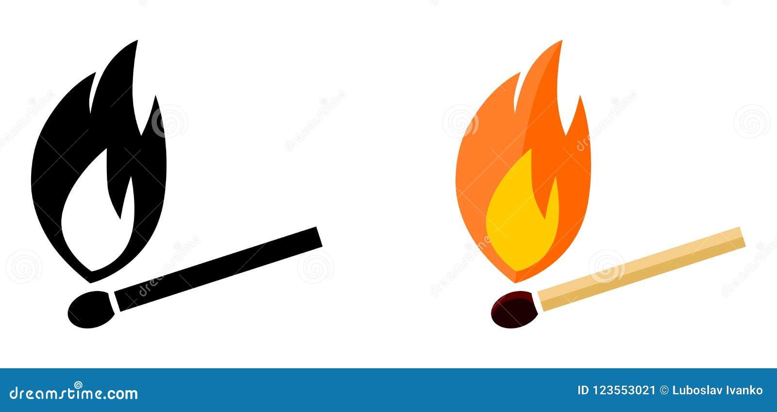 Icono simple del partido del burning Blanco y negro, versión del color