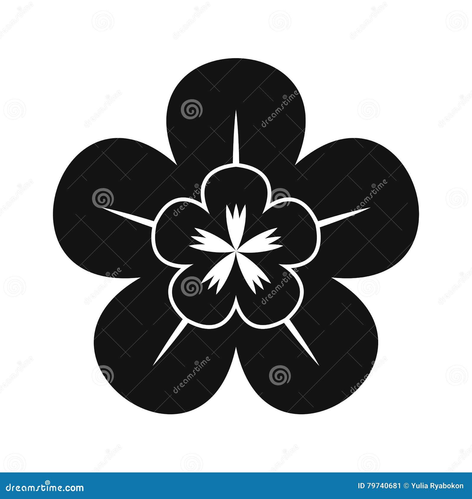 Icono simple negro de la orquídea