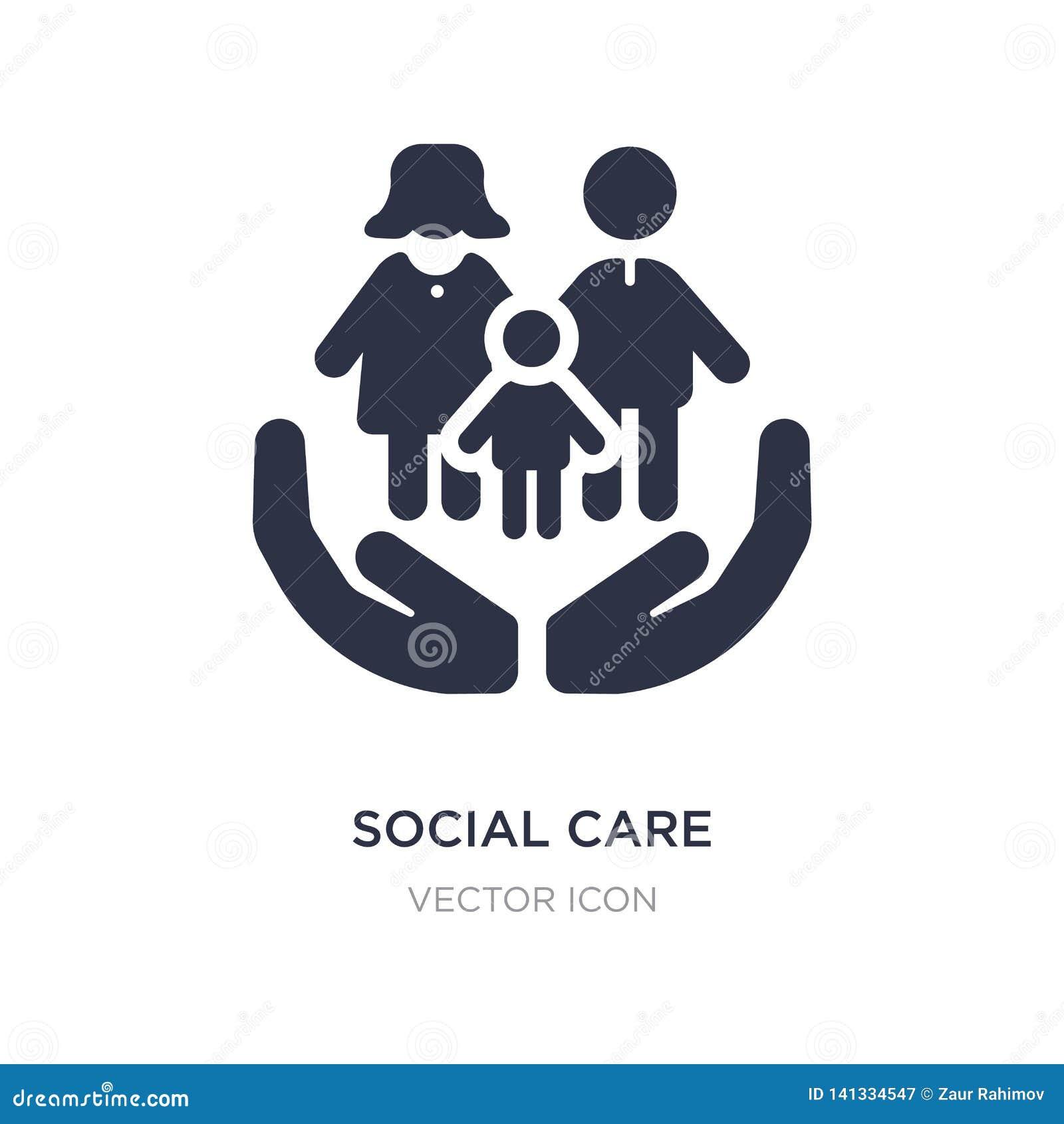 Icono social del cuidado en el fondo blanco Ejemplo simple del elemento del concepto de la gente