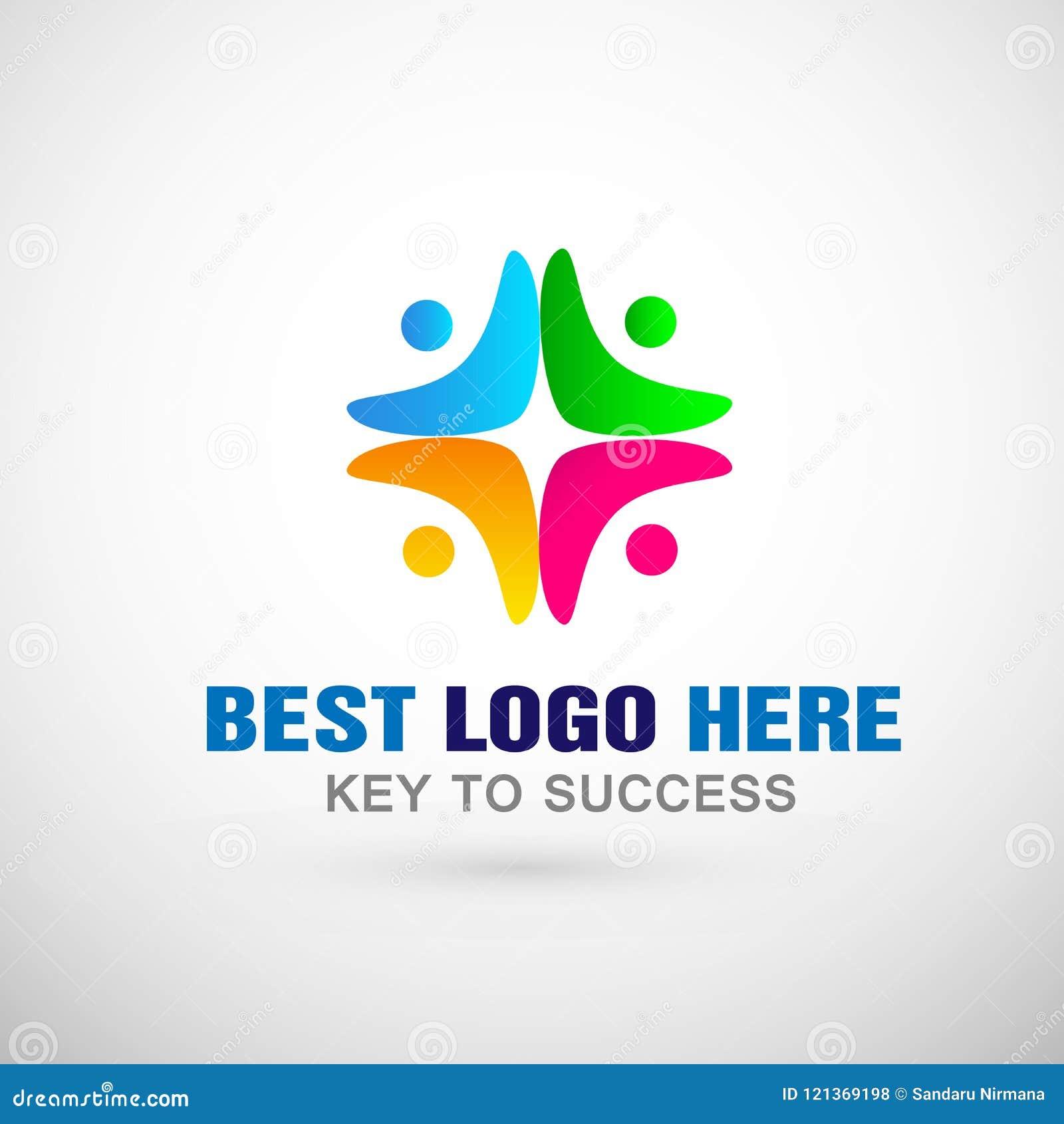 Icono social del logotipo de la comunidad del trabajo del equipo de la unión de la gente