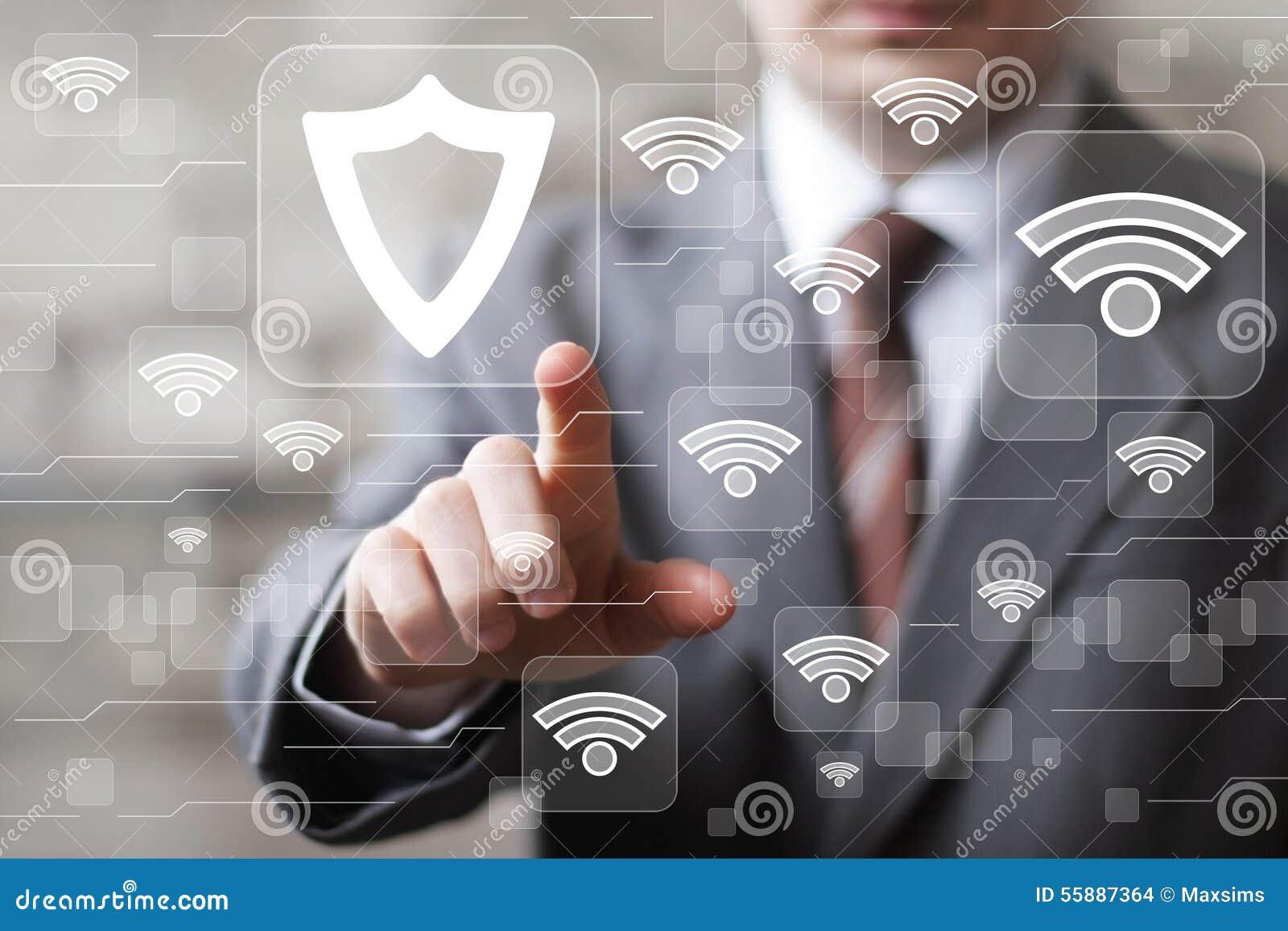 Icono social del virus de la seguridad del escudo del botón del negocio de Wifi de la red