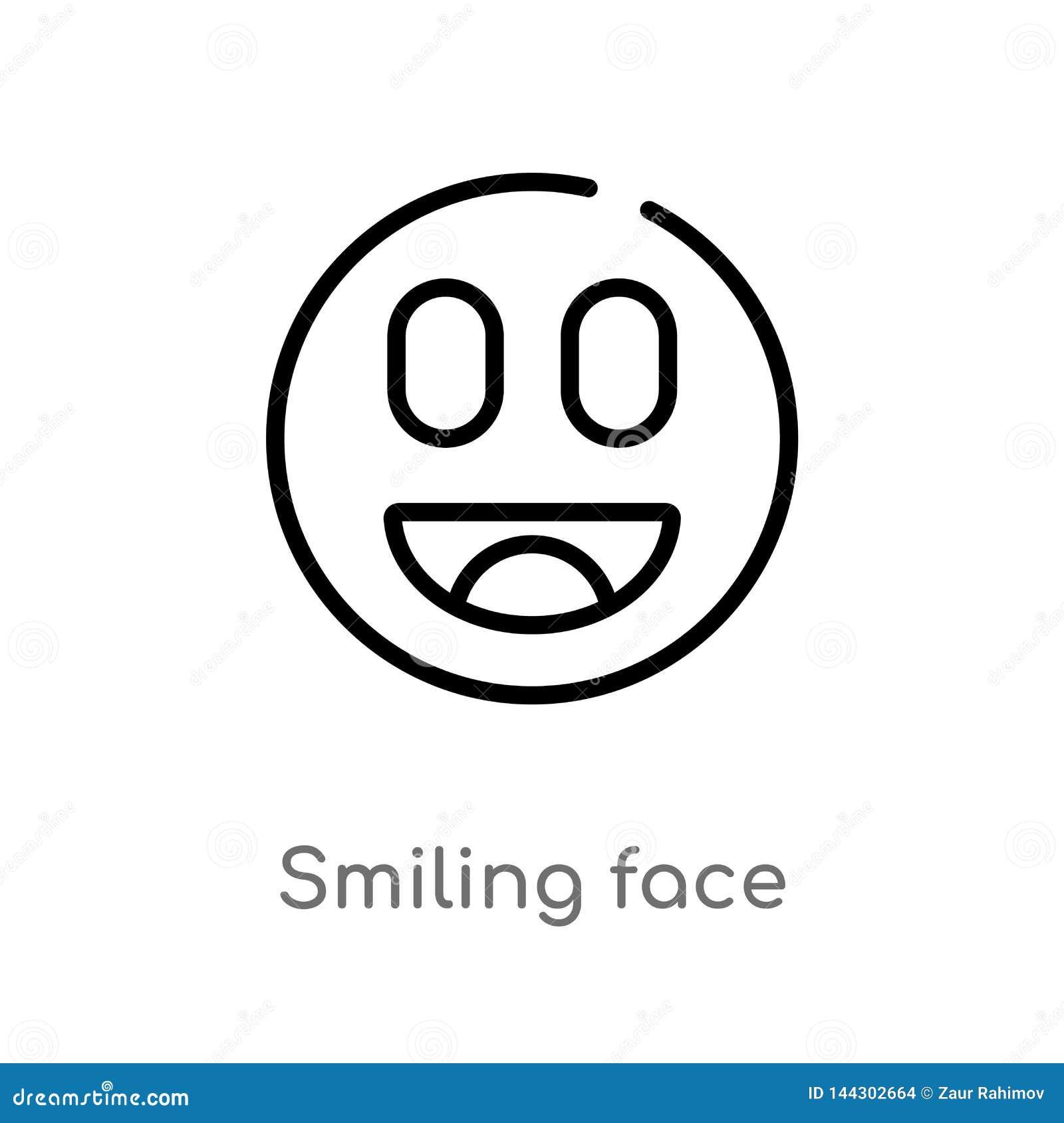 Icono sonriente del vector de la cara del esquema línea simple negra aislada ejemplo del elemento del último concepto de los glyp