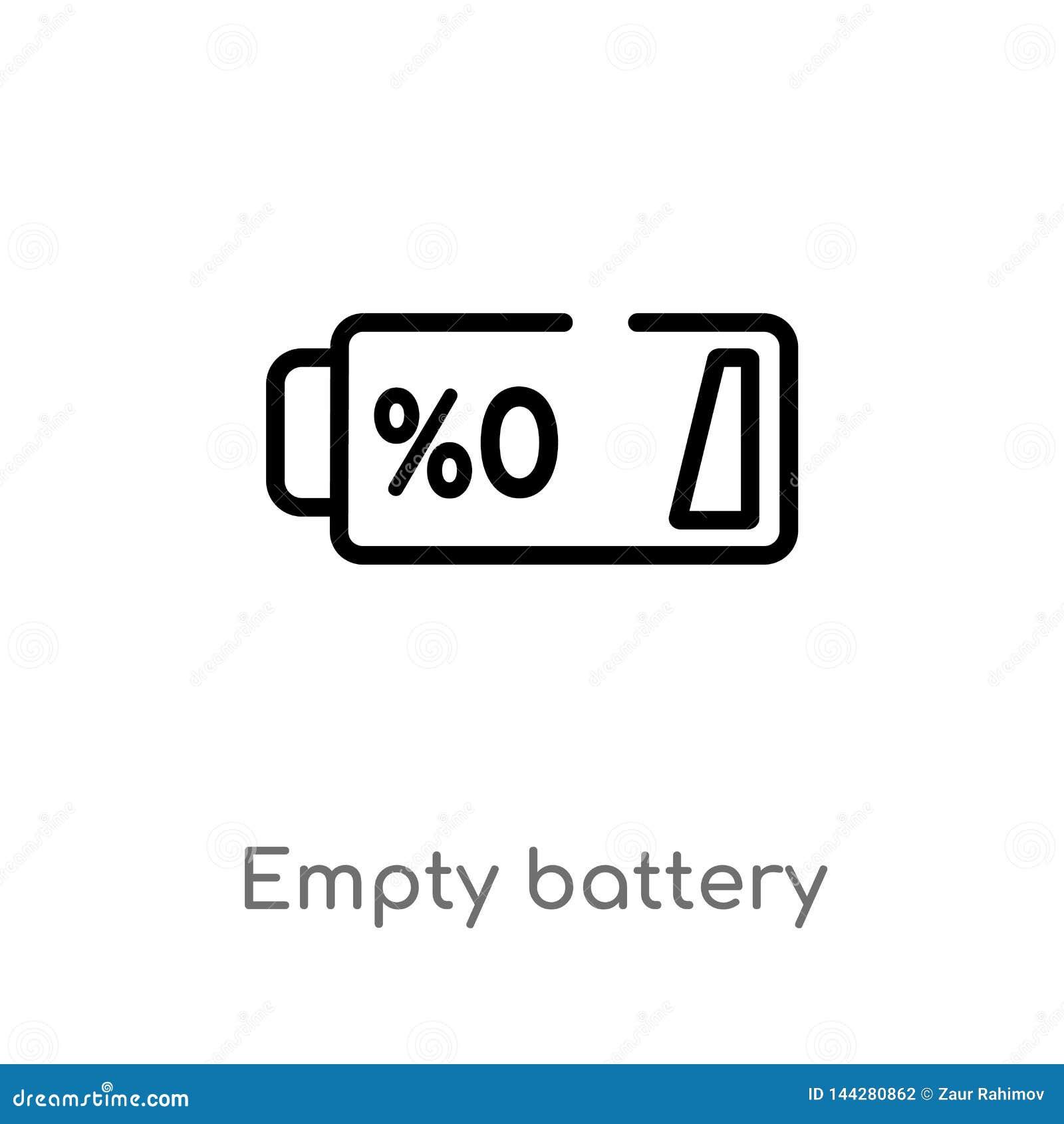 Icono vacío del vector de la batería del esquema línea simple negra aislada ejemplo del elemento del concepto electrónico del ter