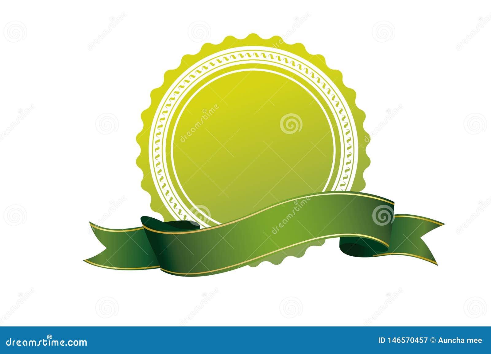Icono verde de la cinta de la insignia en el fondo blanco