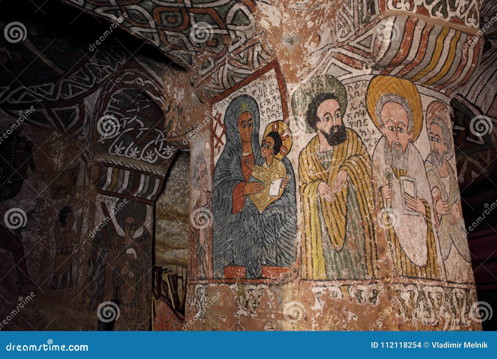 Iconographic platser i Abuna Yemata kyrktar i Etiopien