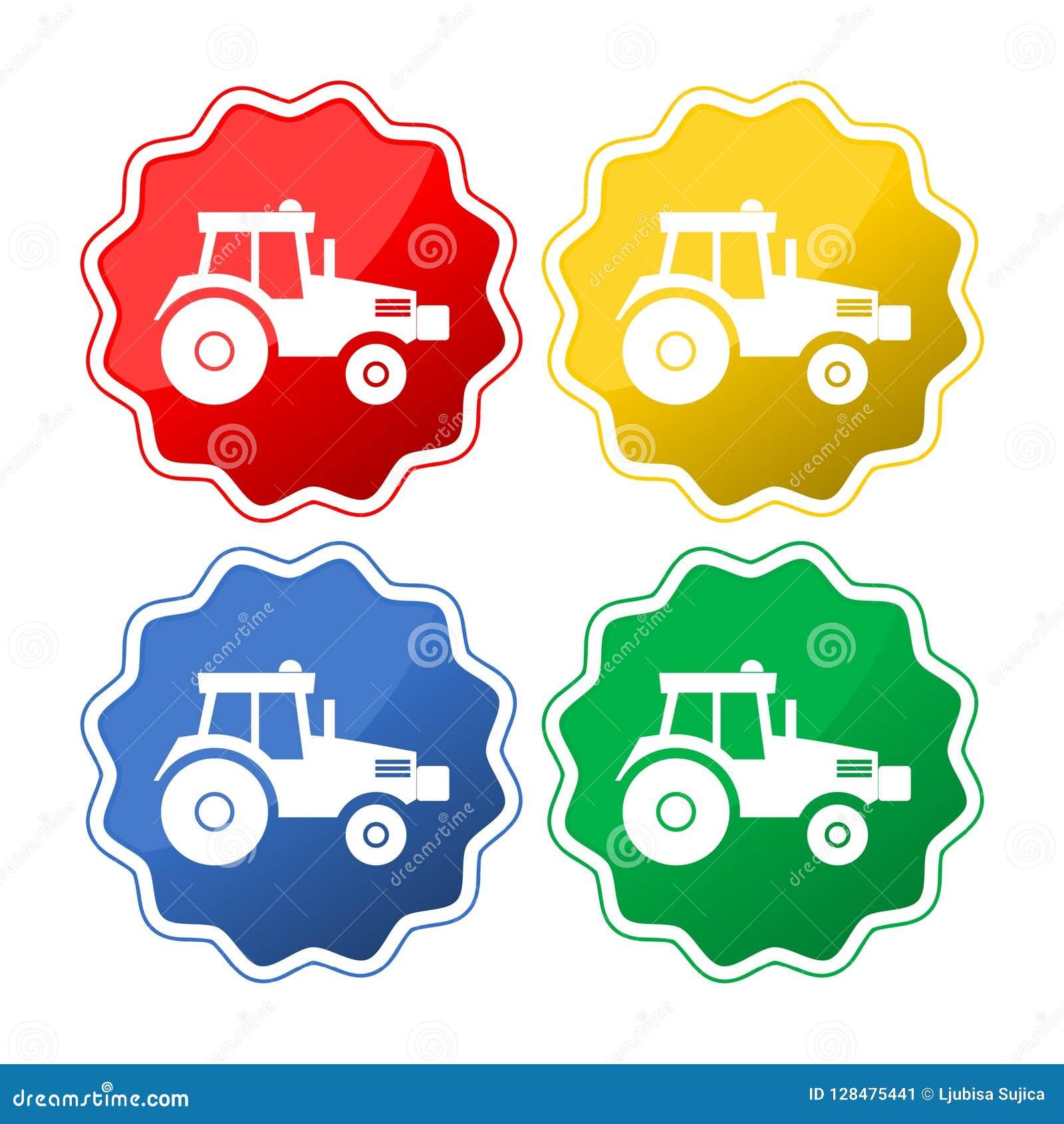 Iconos aislados vector del tractor