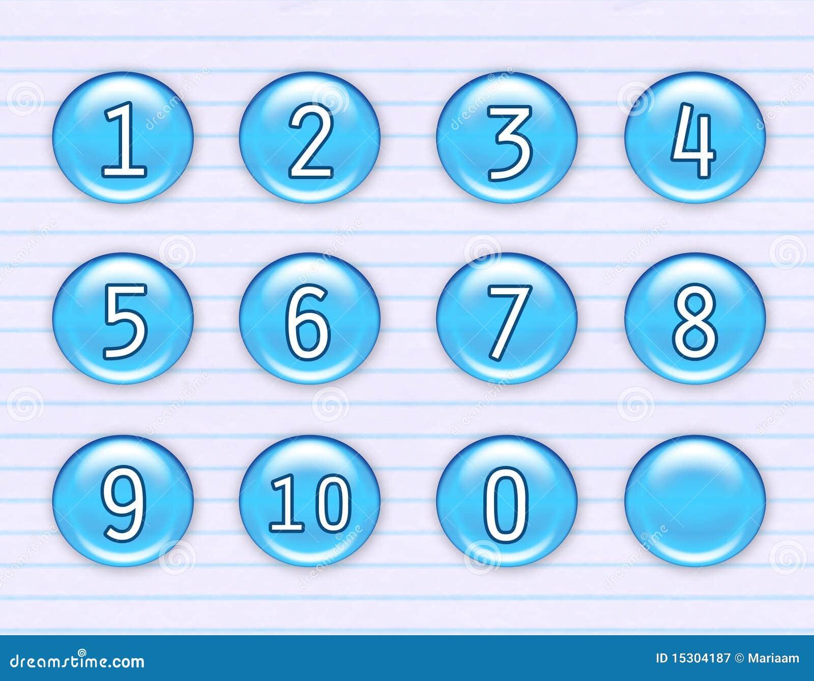 Iconos azules brillantes del número