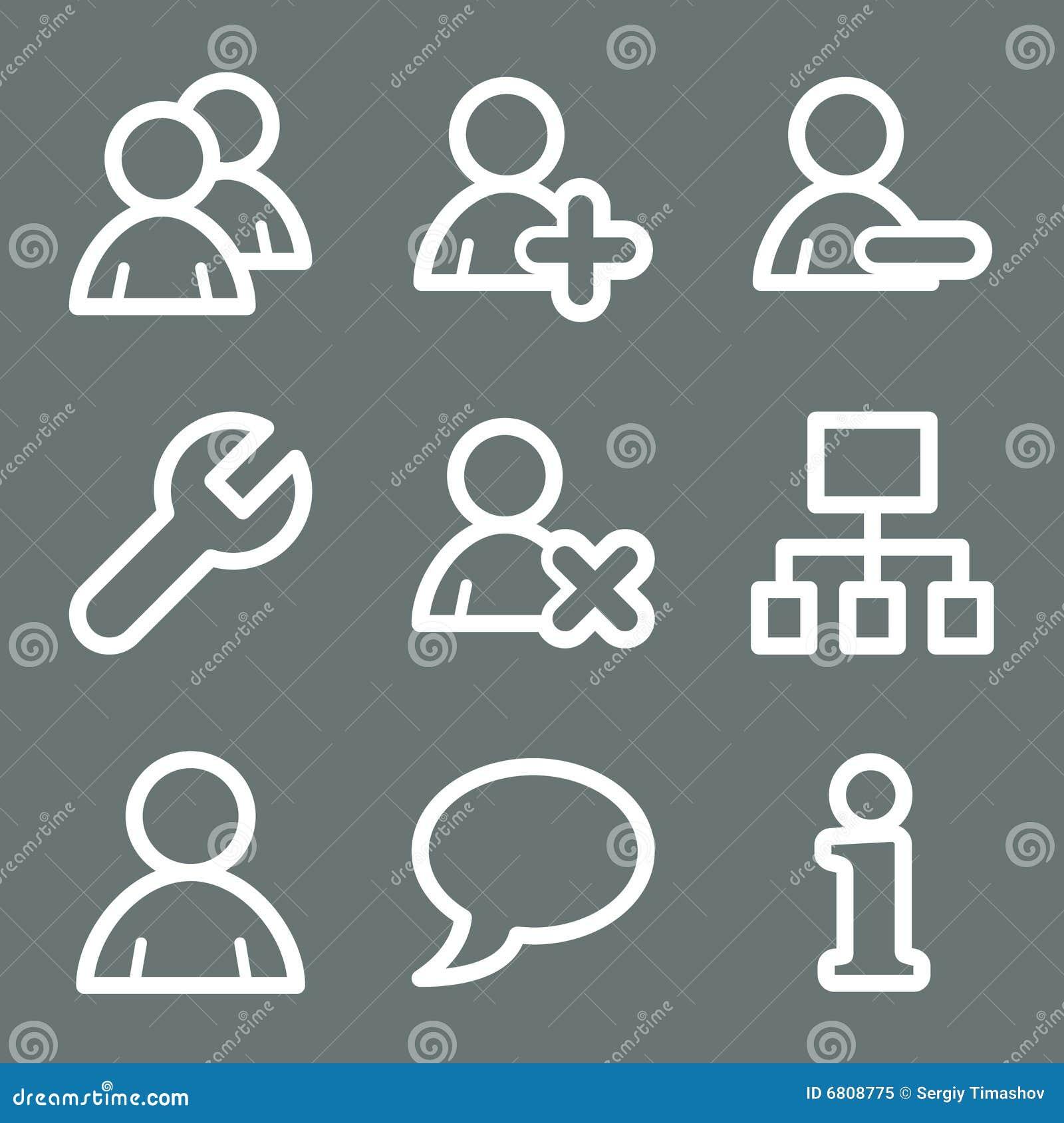 Iconos blancos del Web de los utilizadores