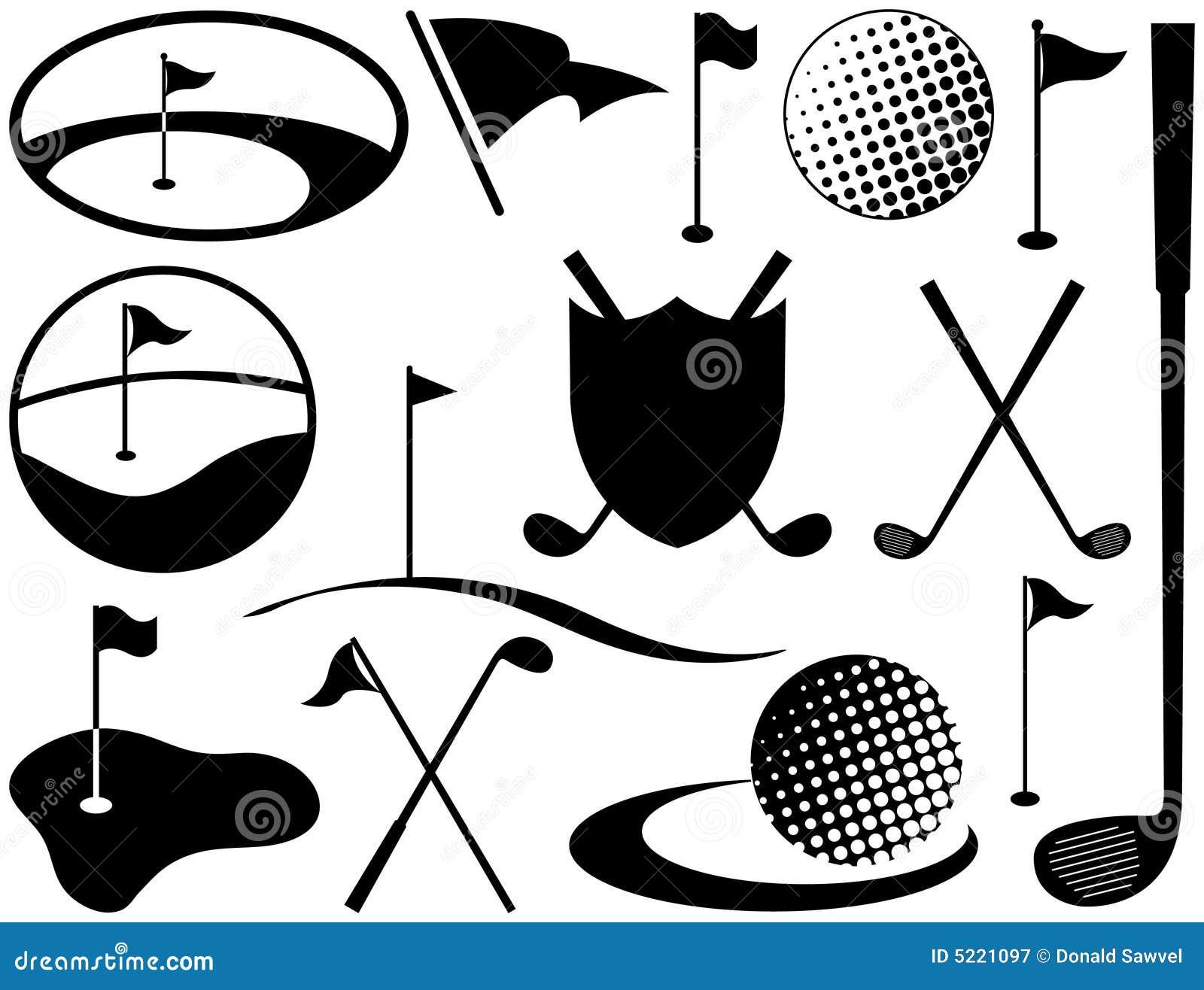 Iconos blancos y negros del golf