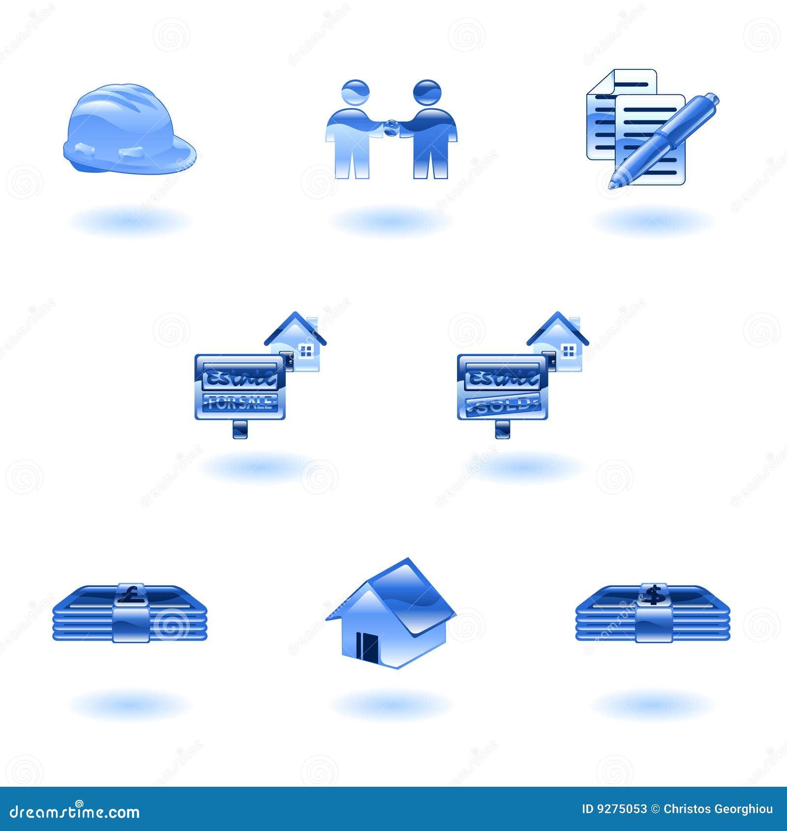 Iconos brillantes de las propiedades inmobiliarias