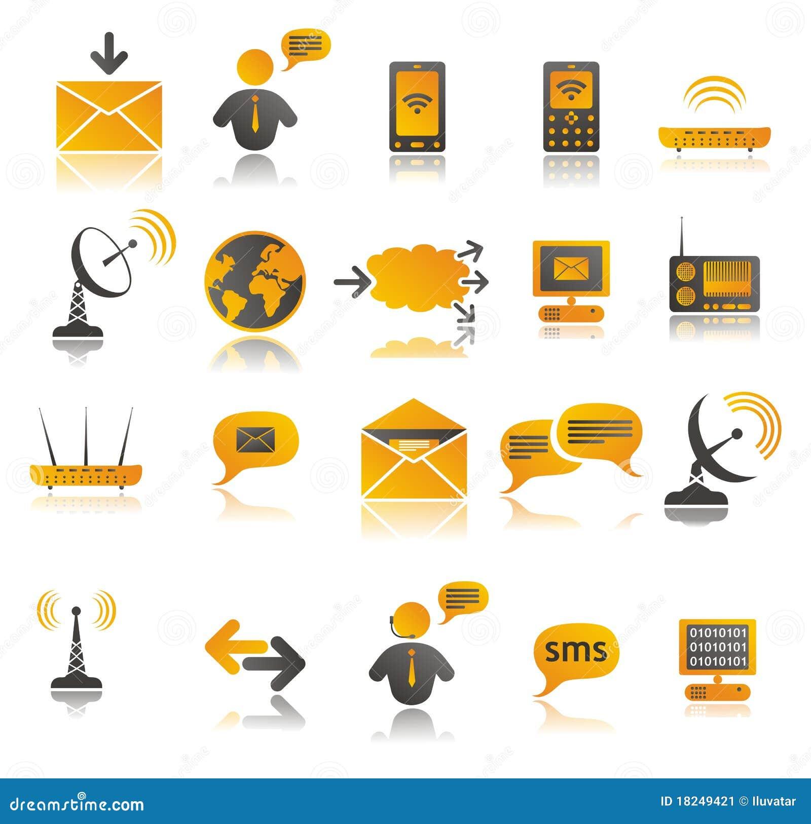 Iconos coloreados del Web de la comunicación fijados