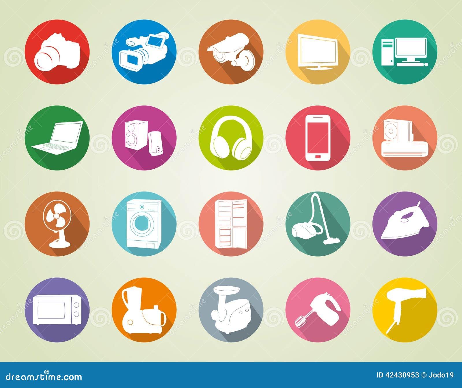 Iconos coloridos de los aparatos electrodomésticos