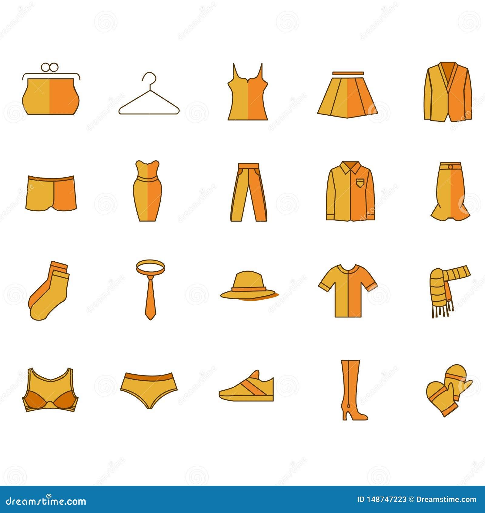 Iconos con ropa del color amarillo