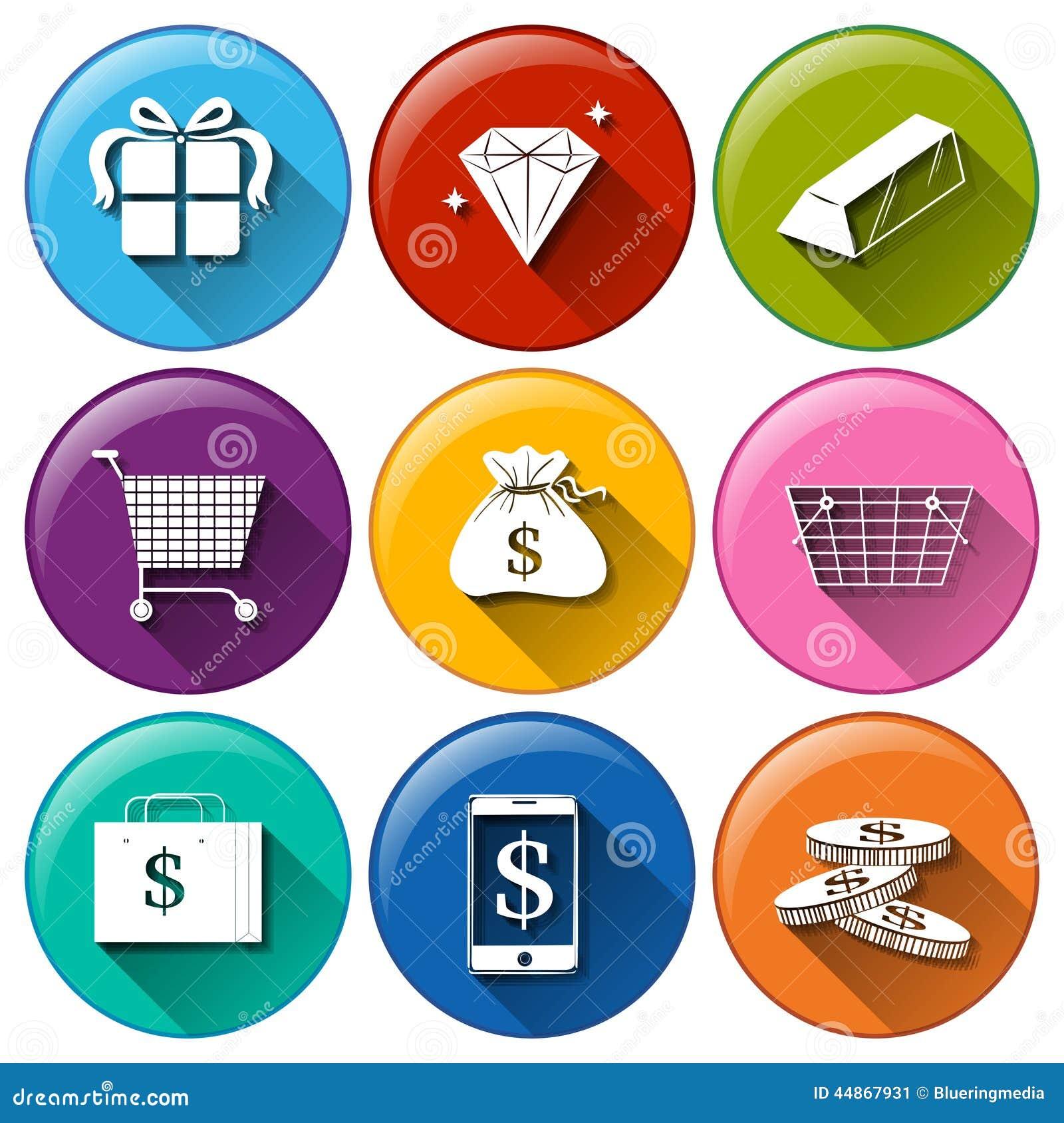 Iconos con valores econ micos grandes ilustraci n del - Marcos para fotos economicos ...