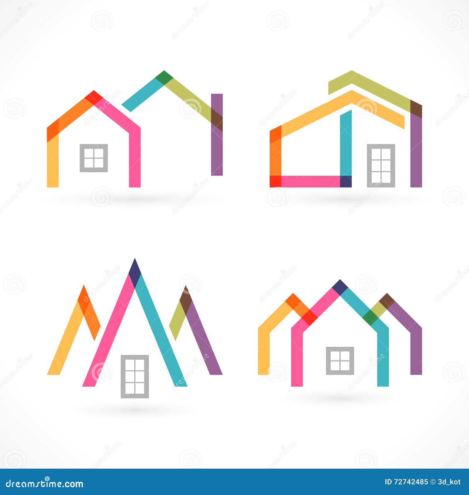 Iconos creativos de las propiedades inmobiliarias del extracto de la casa fijados