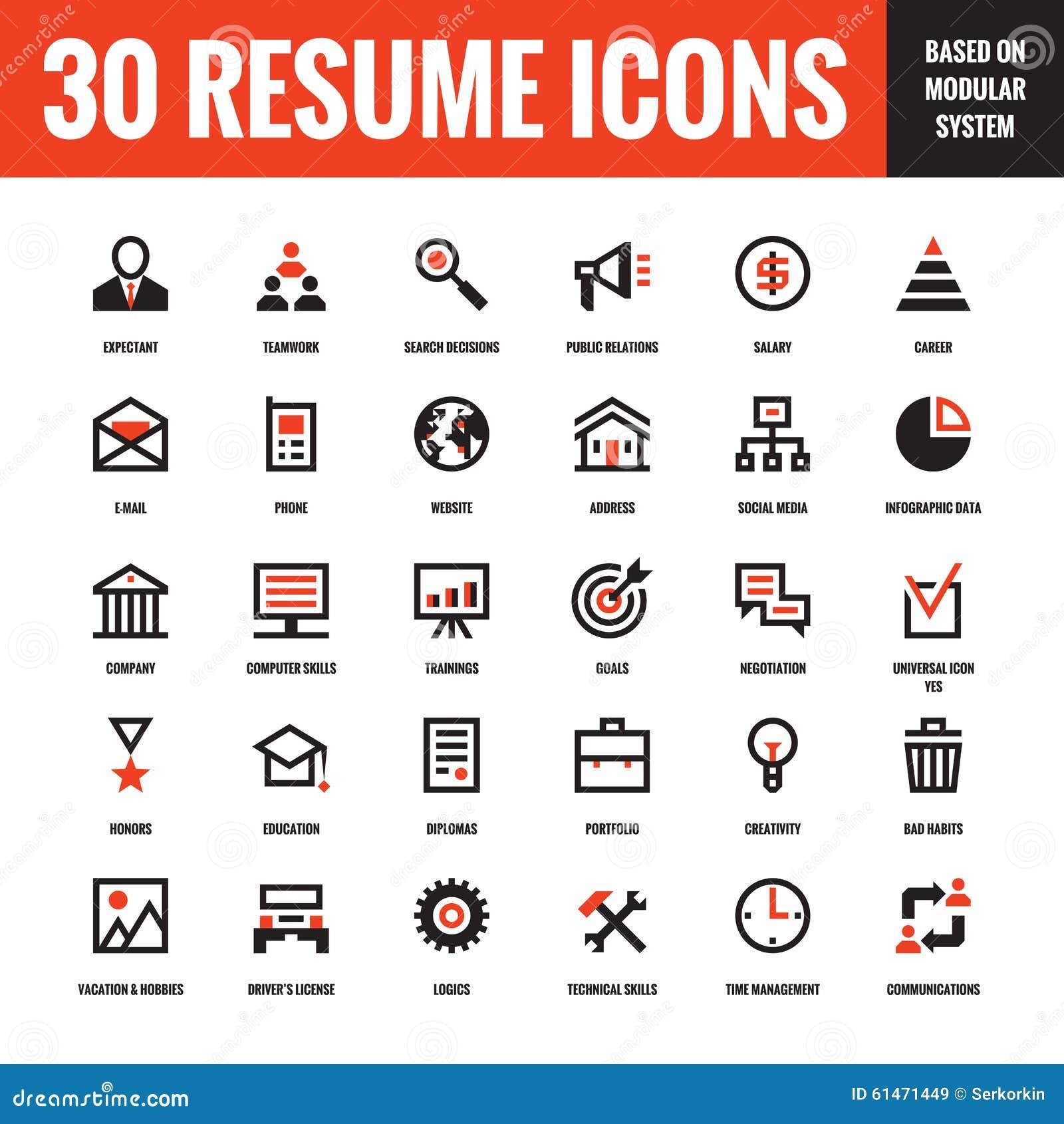 30 Iconos Creativos Del Vector Del Curriculum Vitae