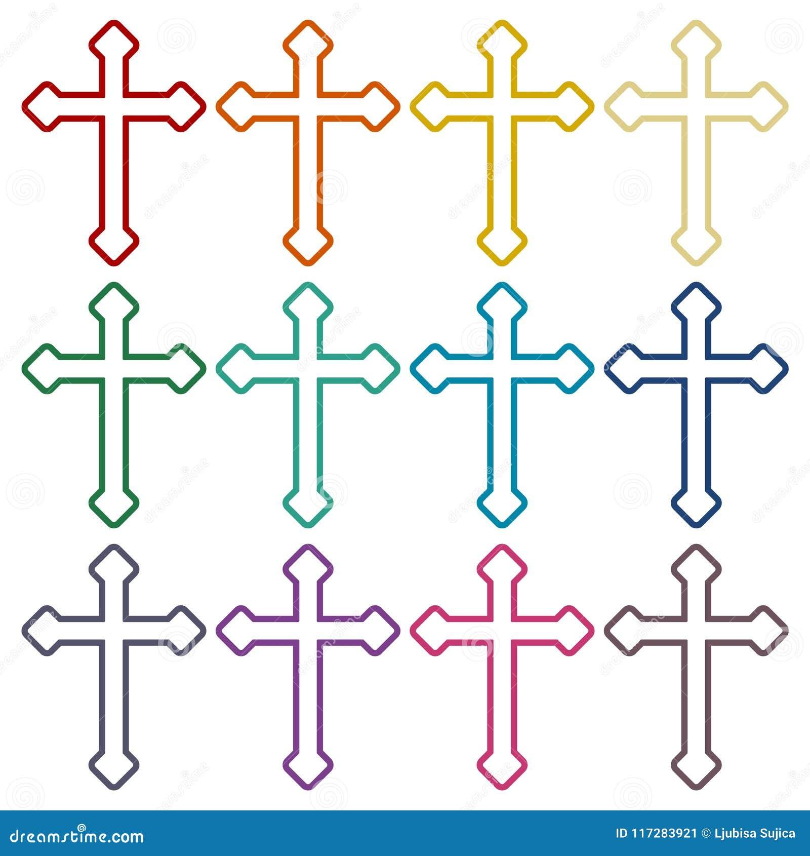 Iconos cruzados cristianos decorativos fijados